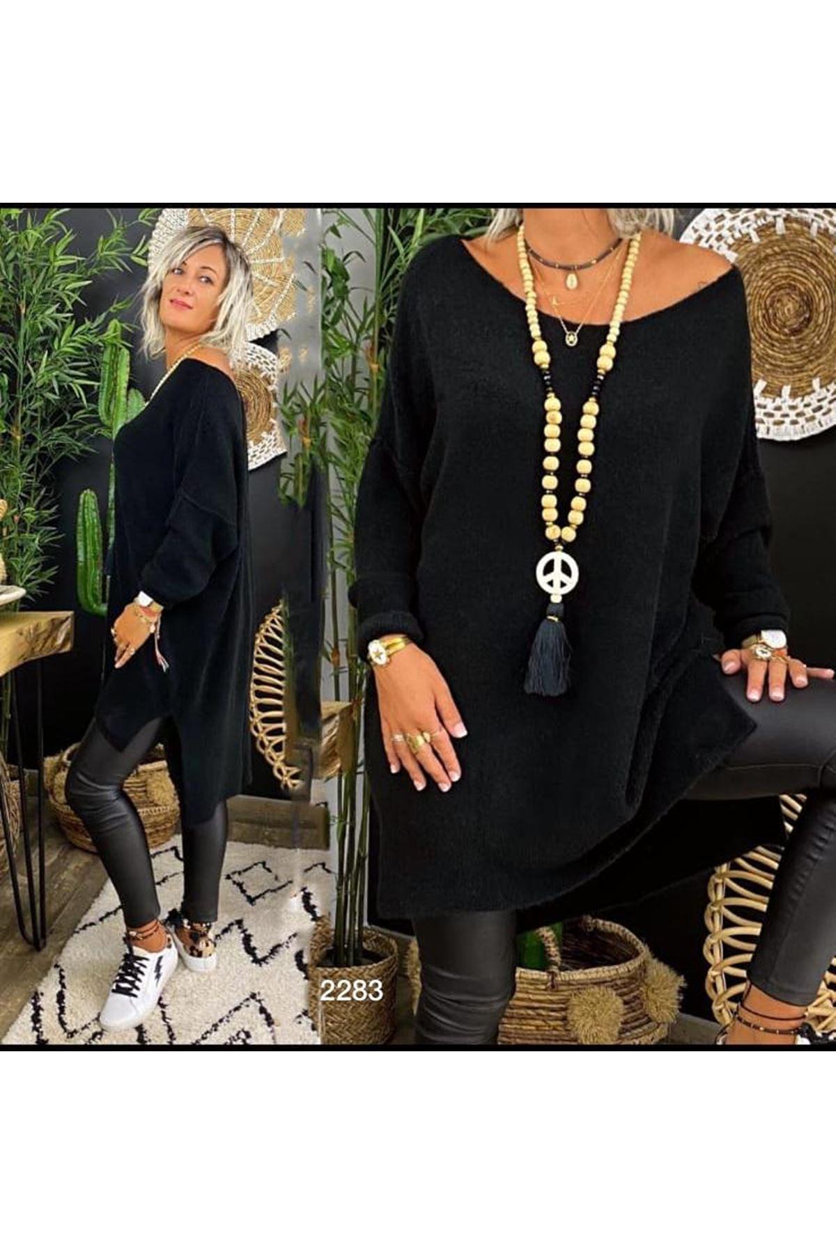 Geniş Yaka Salaş Tunik - siyah