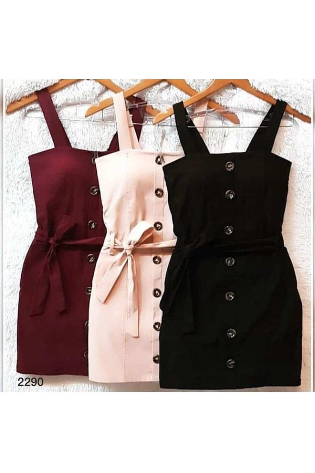 Düğmeli Mini Elbise - SİYAH