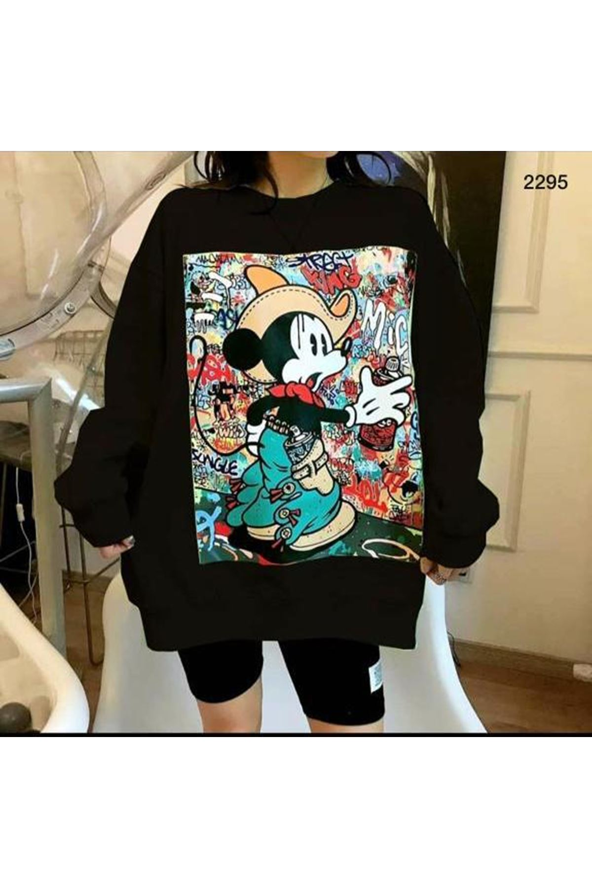 Oversıze Mickey Sweat Tunik - siyah