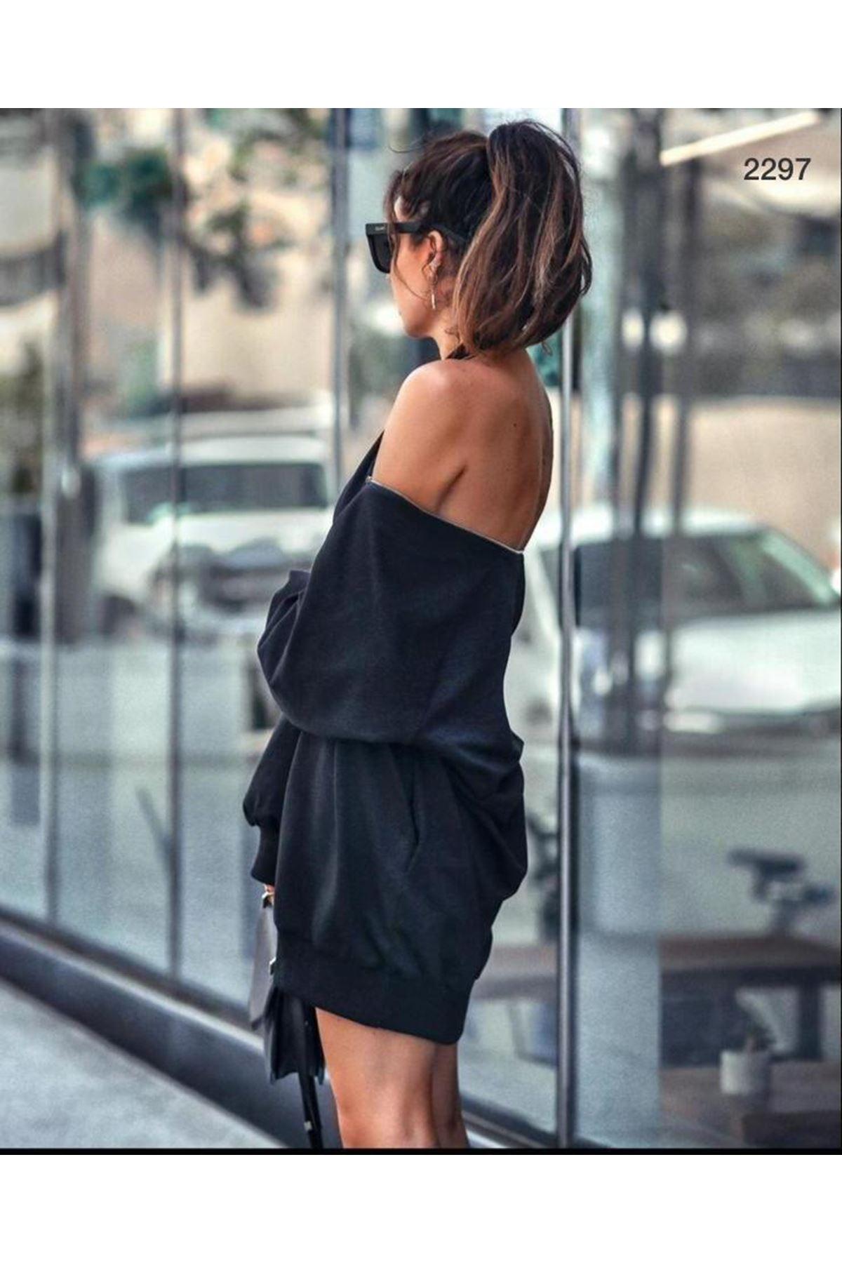 Fermuar Detaylı Spor elbise - siyah