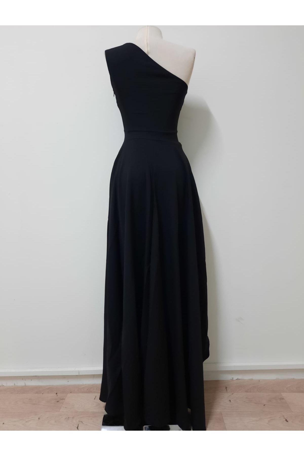 Tek Omuz Tasarım Maxi elbise - siyah