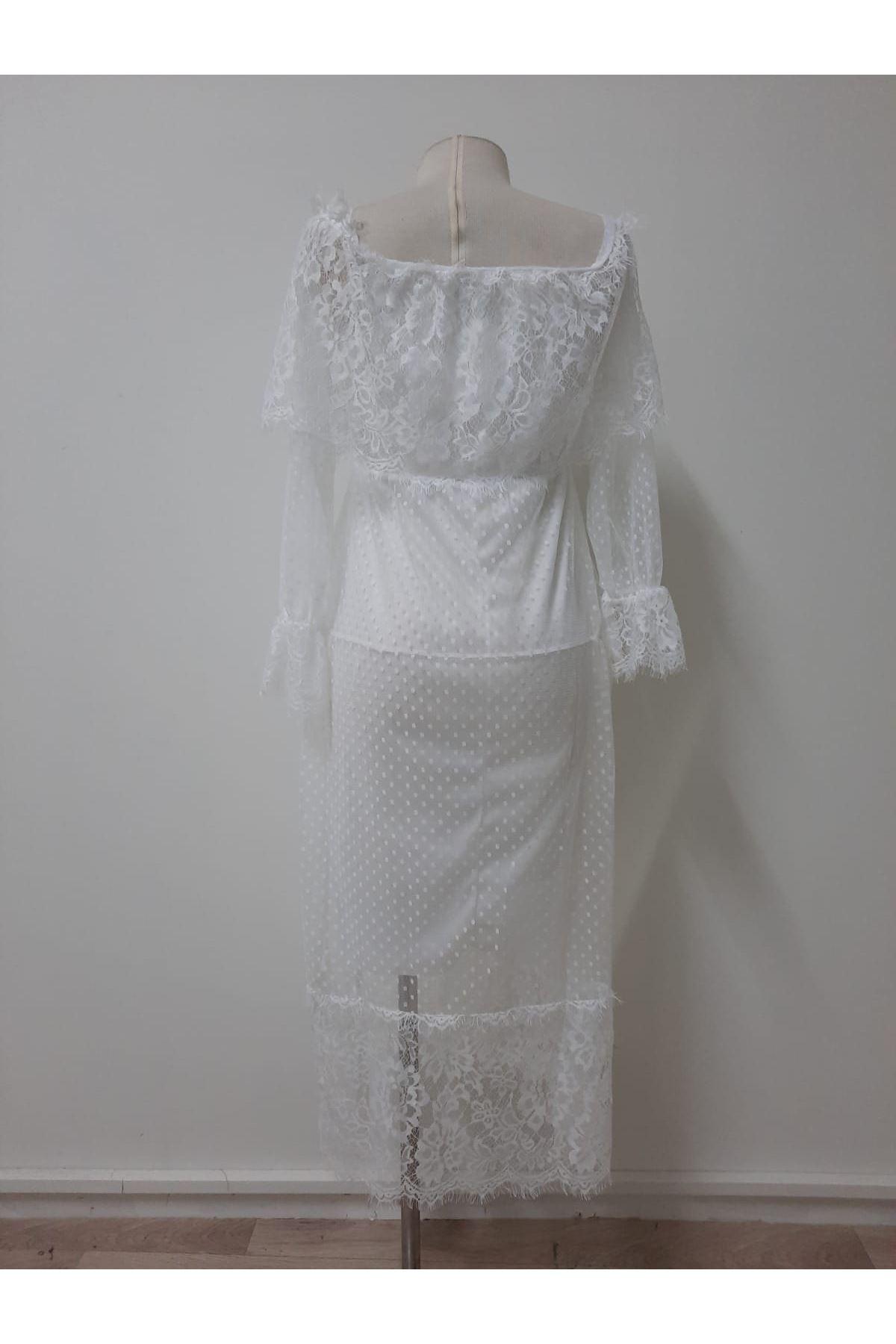 Madonna Midiboy Elbise - beyaz