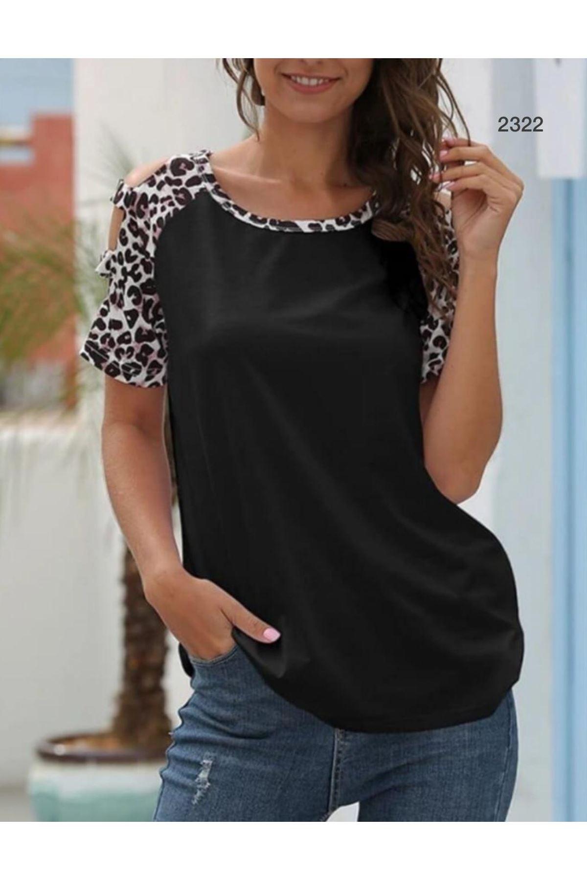 Leopar Garnili Tshirt - siyah