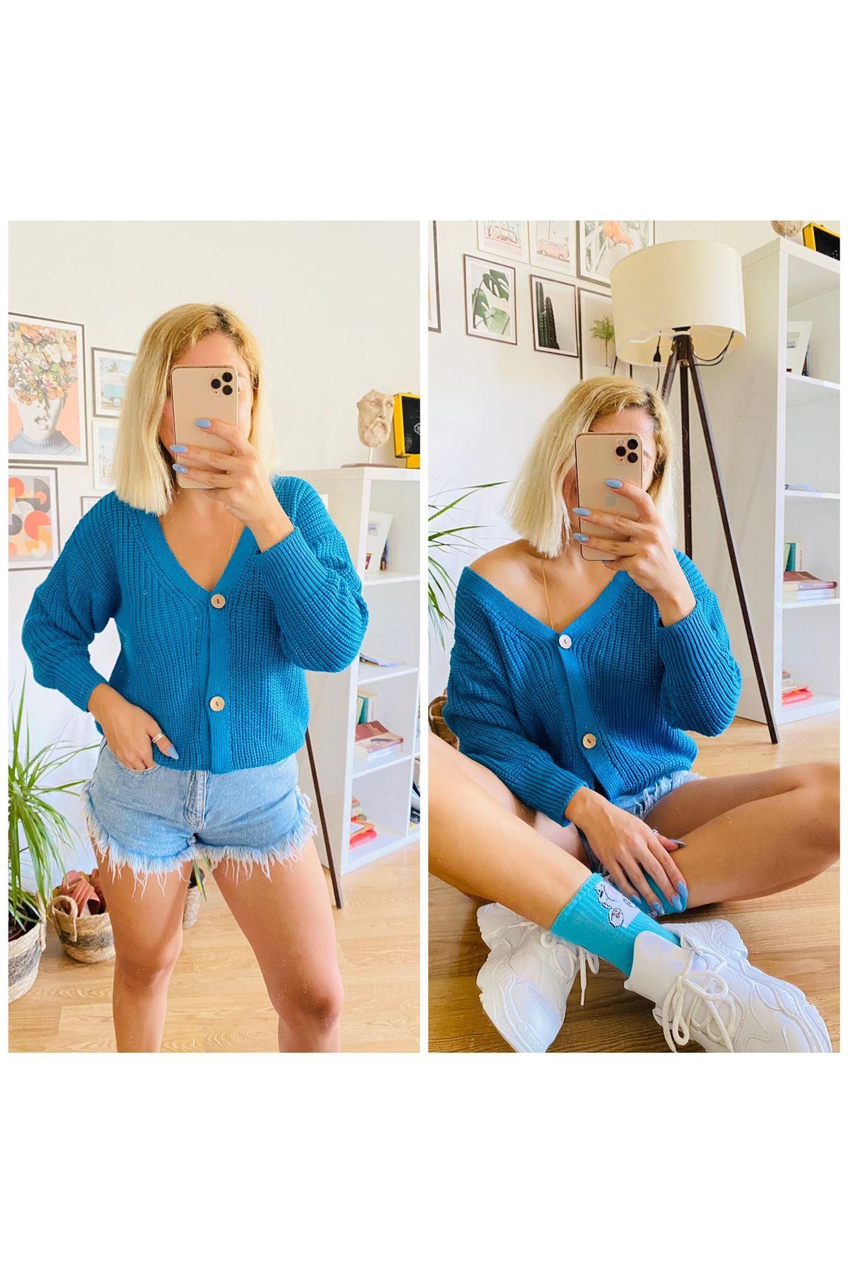 V Yaka Tarz Hırka - mavi