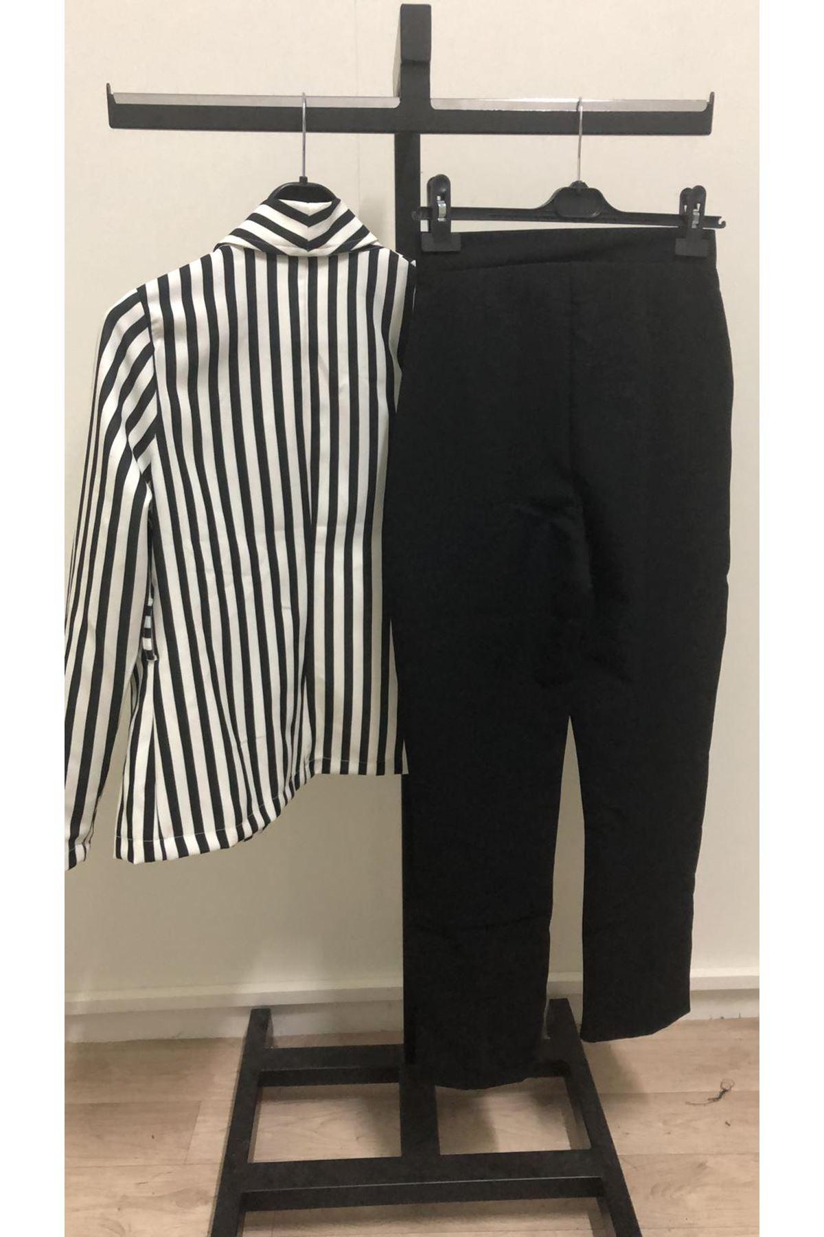 Çizgi Ceketli İkili Takım - siyah