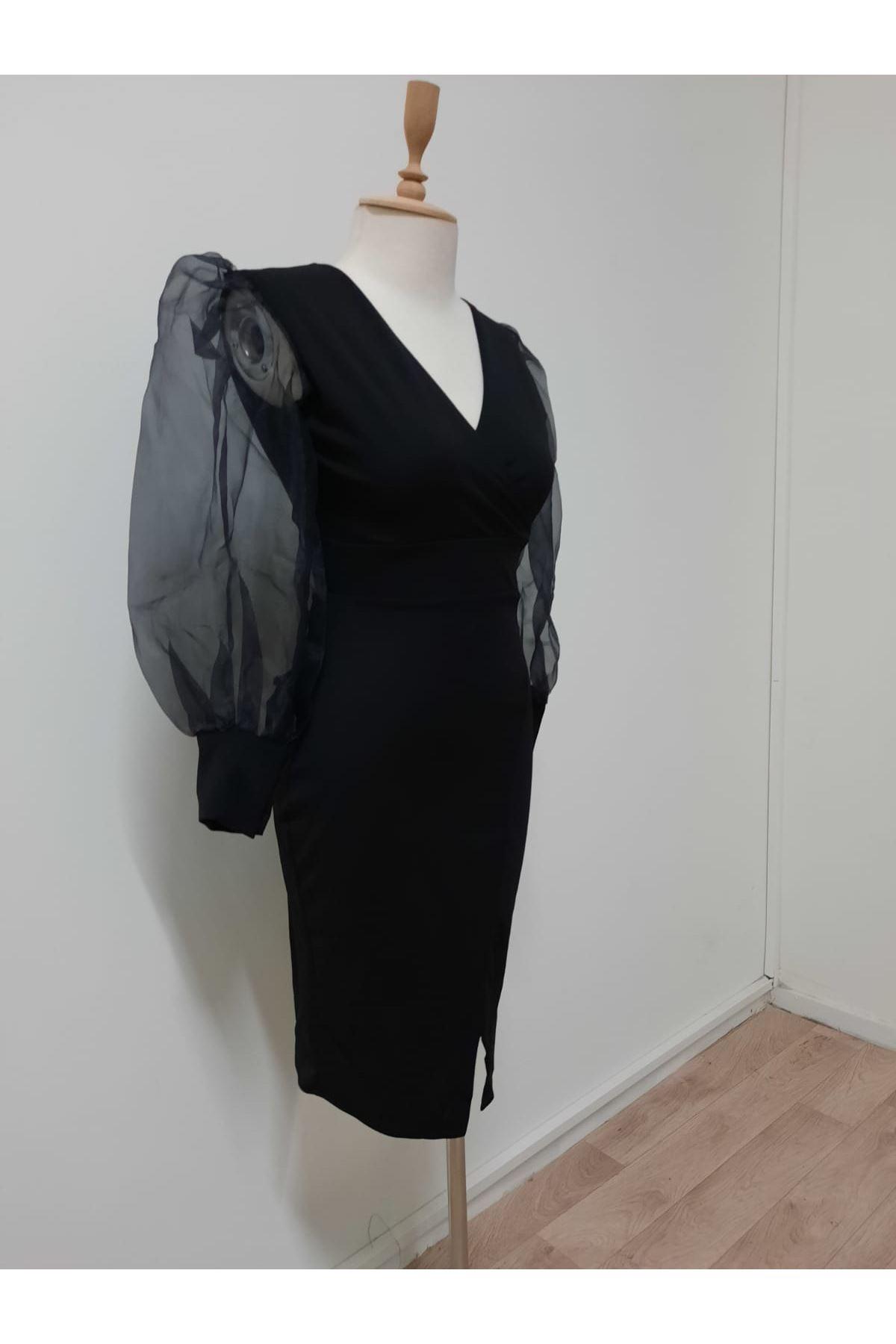 Kollar Organze Atlas Elbise - siyah
