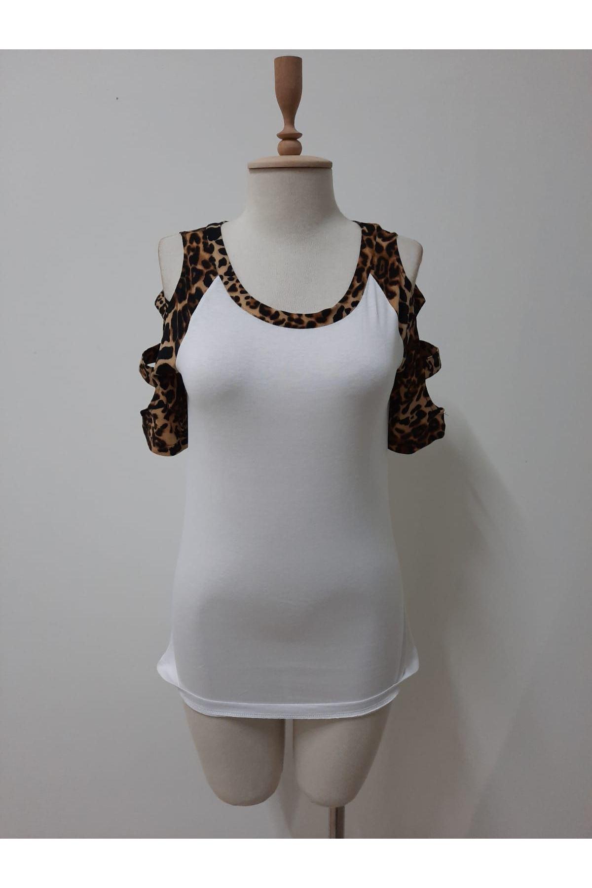 Leopar Garnili Tshirt - beyaz