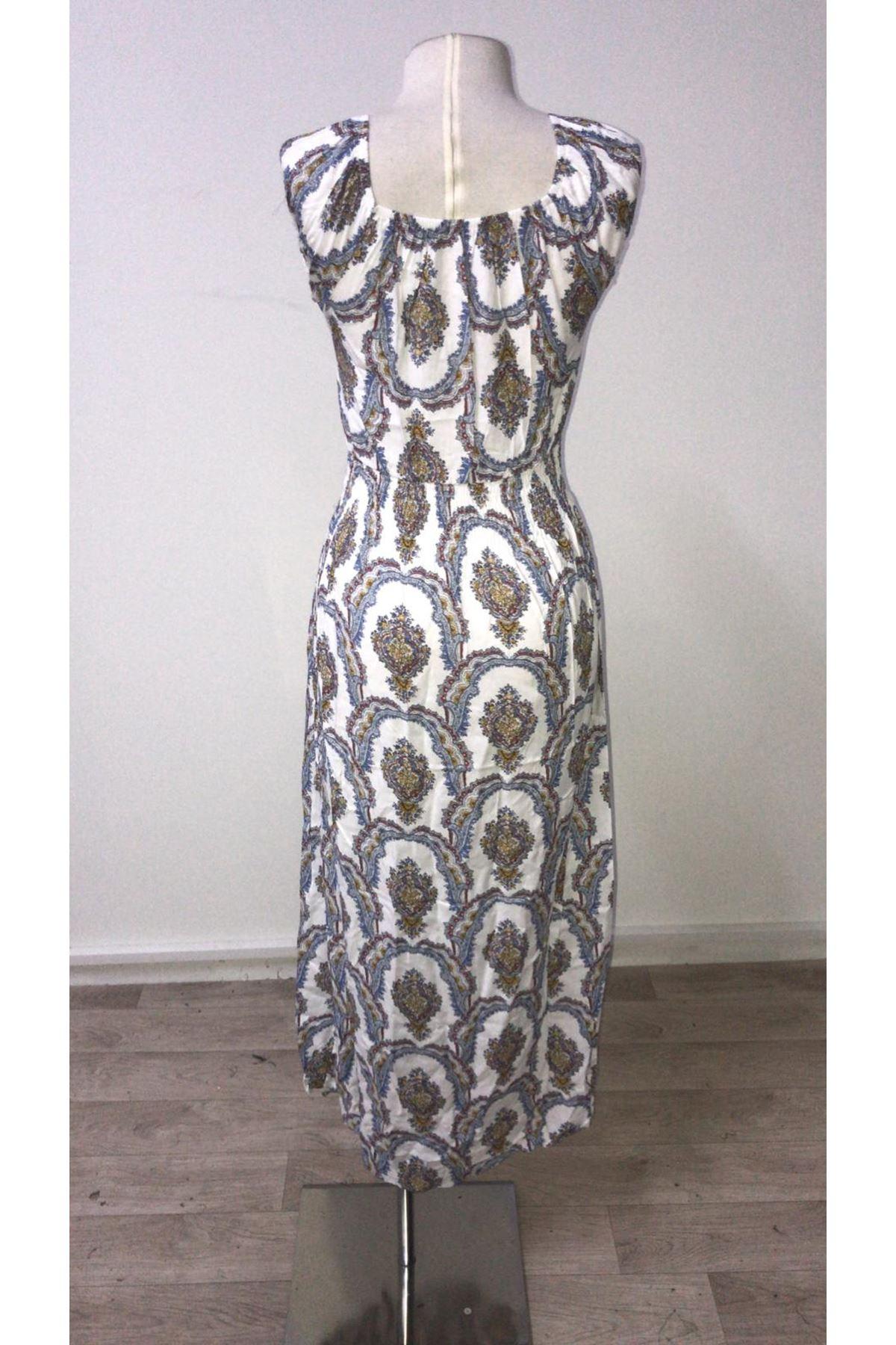 Gipeli Şal Desen Elbise - beyaz
