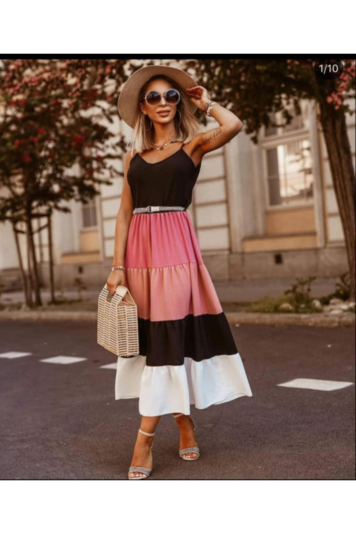 Renk Garnili Maxi Elbise - PUDRA