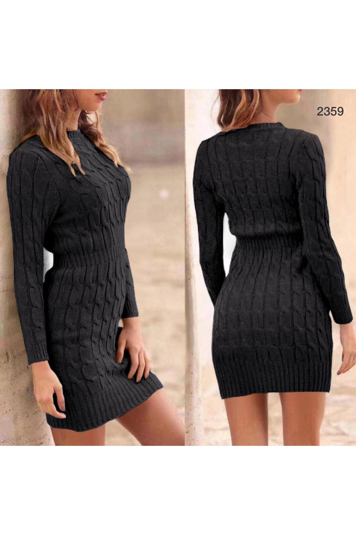 Örme Detaylı Mini Elbise - SİYAH