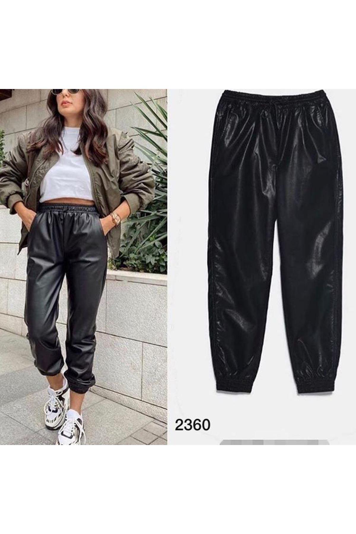 Bel Lastikli Deri Pantolon - SİYAH