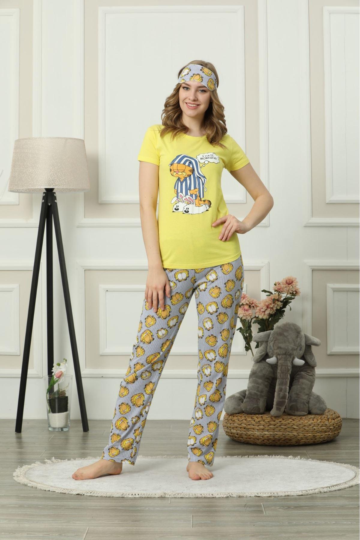 Garfıeld Baskı Pijama Takım - SARI