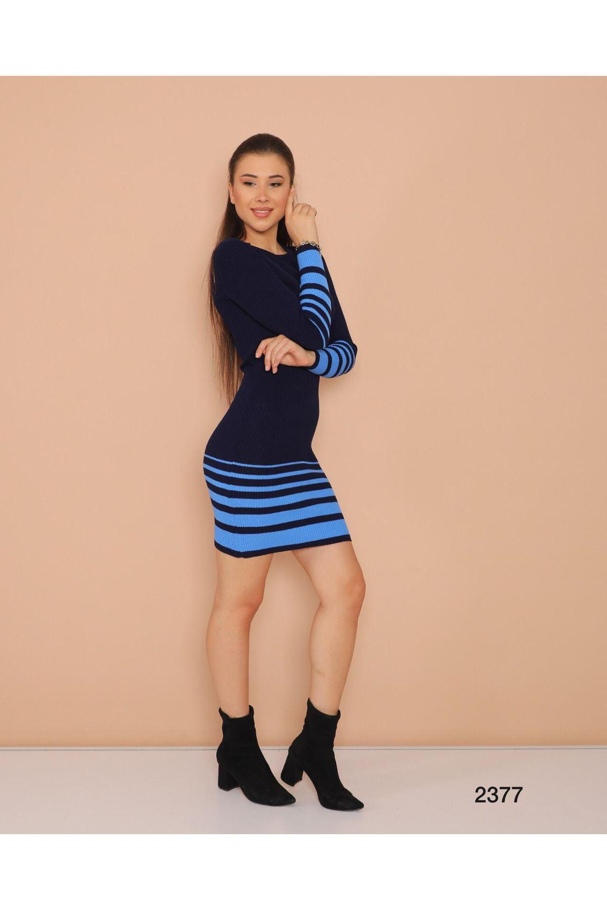 Şerit Baskılı Triko Elbise - LACİ