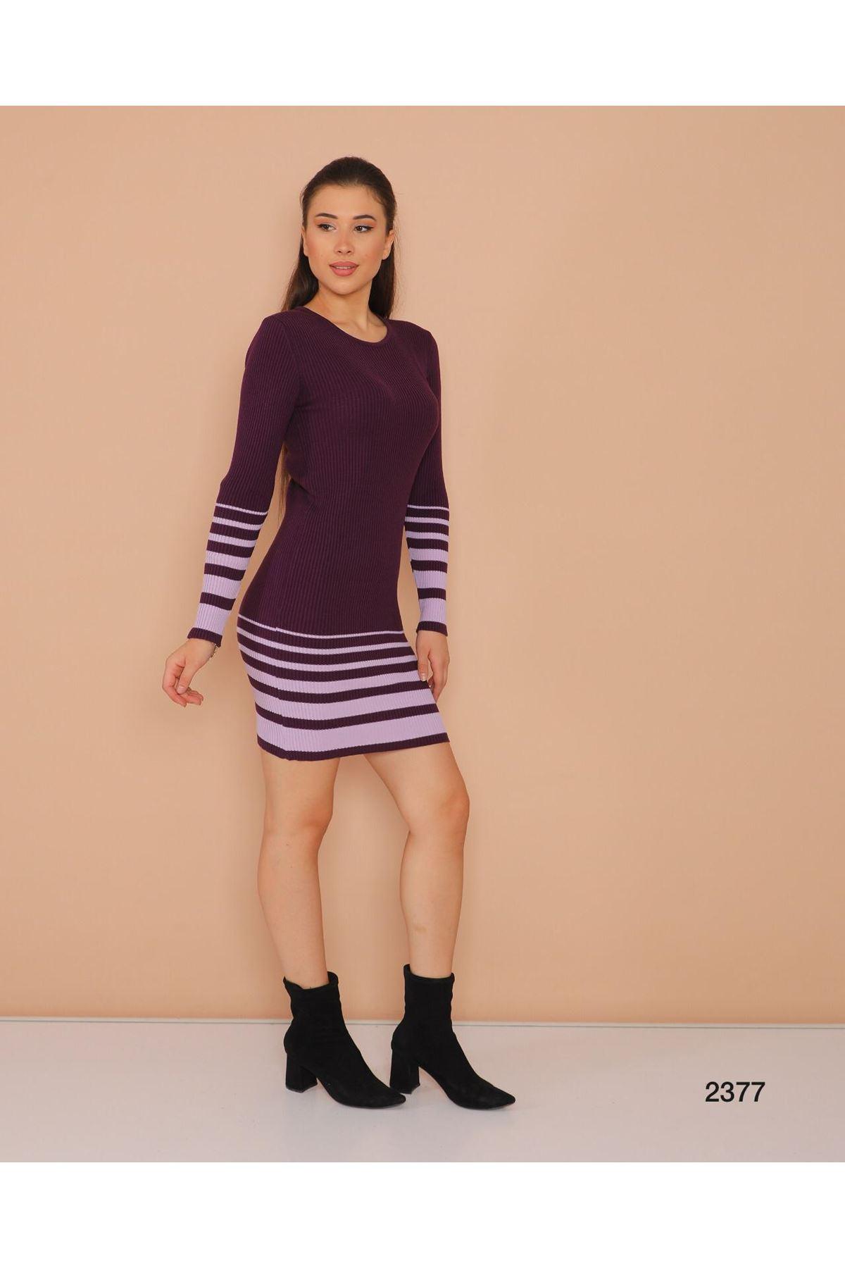 Şerit Baskılı Triko Elbise - MOR