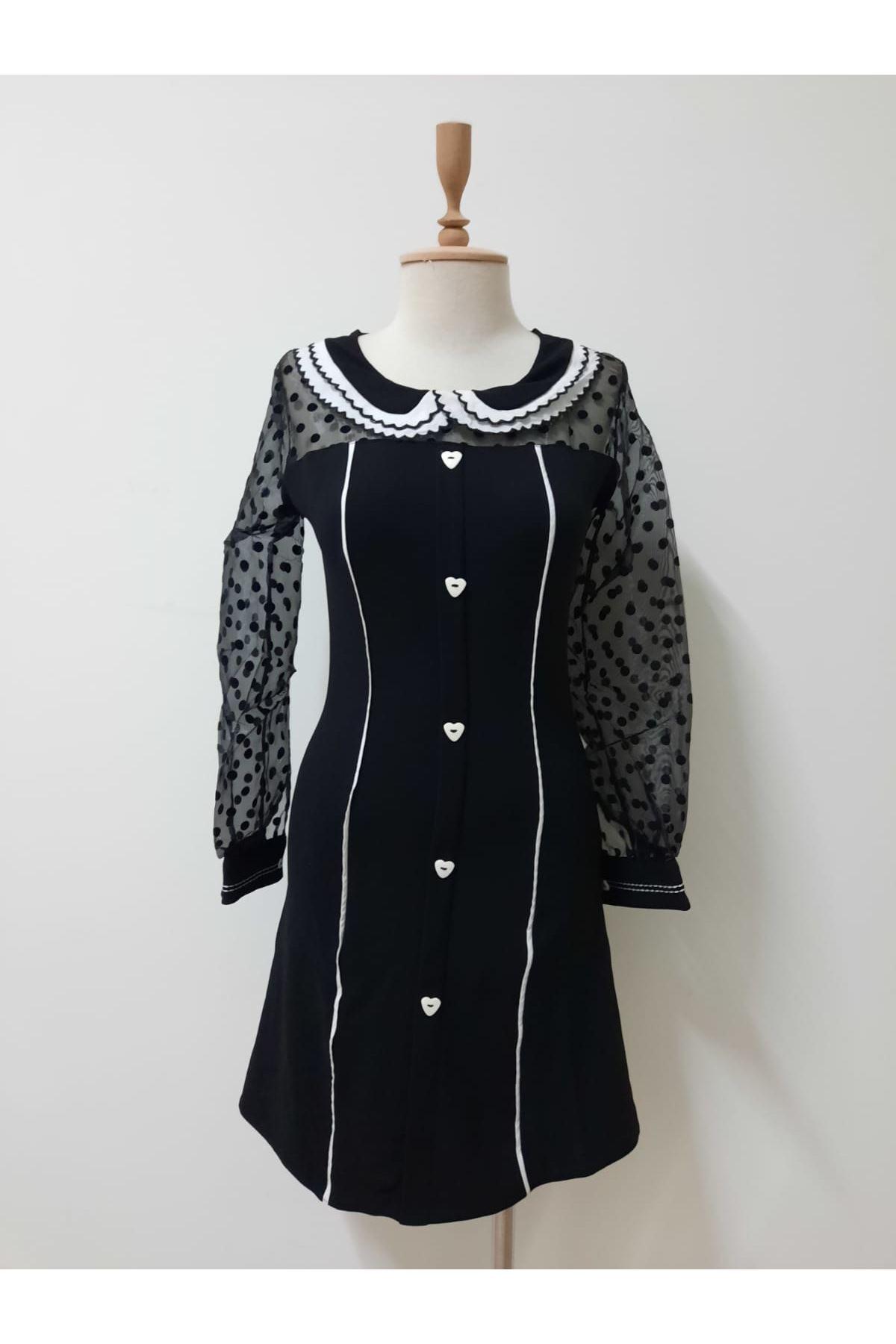 Kol Puan Yakalı Elbise - siyah