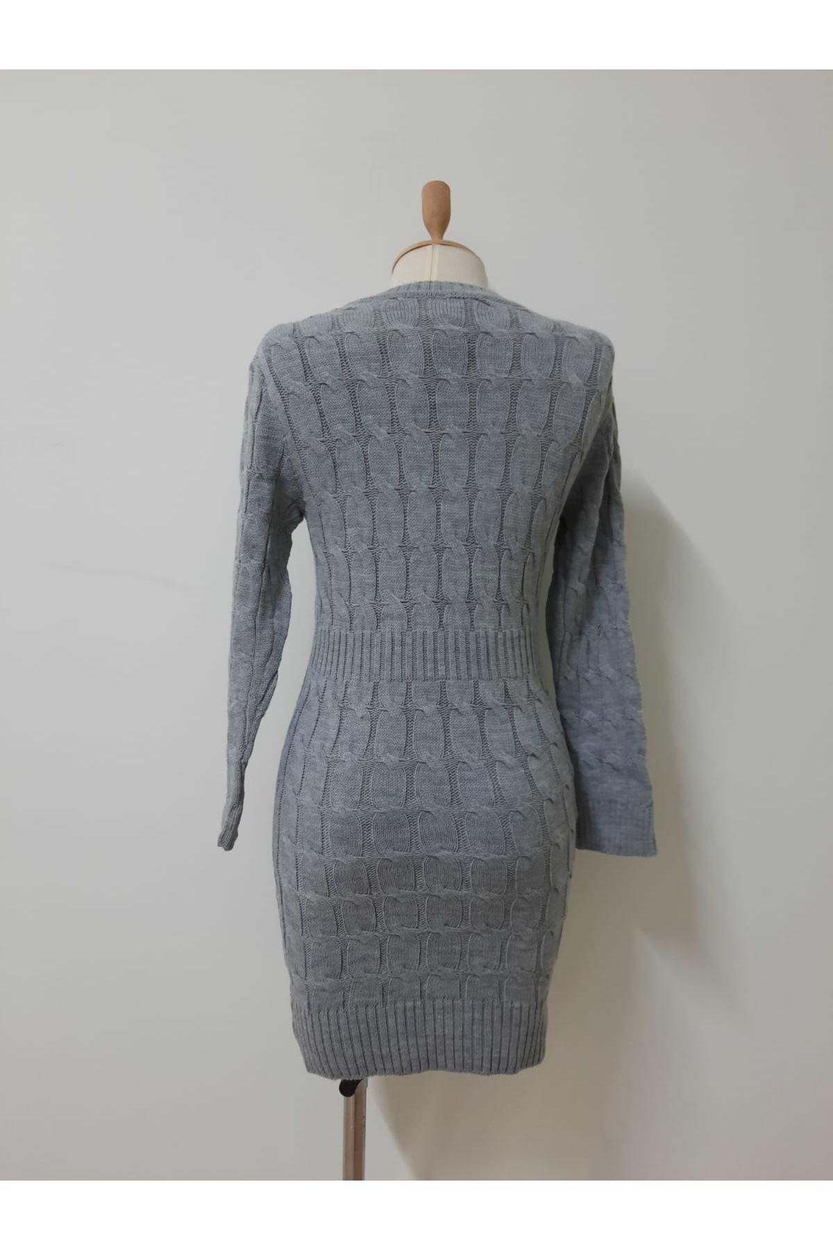 Örme Detaylı Mini Elbise - GRİ
