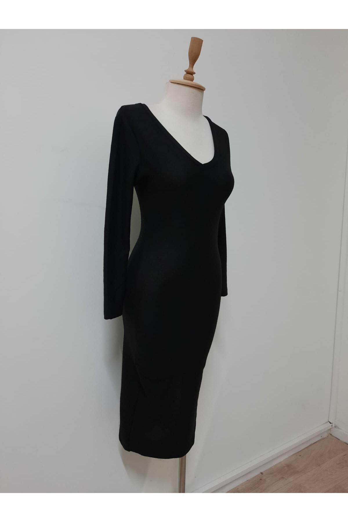 Yanı Yırtmaç Yumoş Elbise - siyah