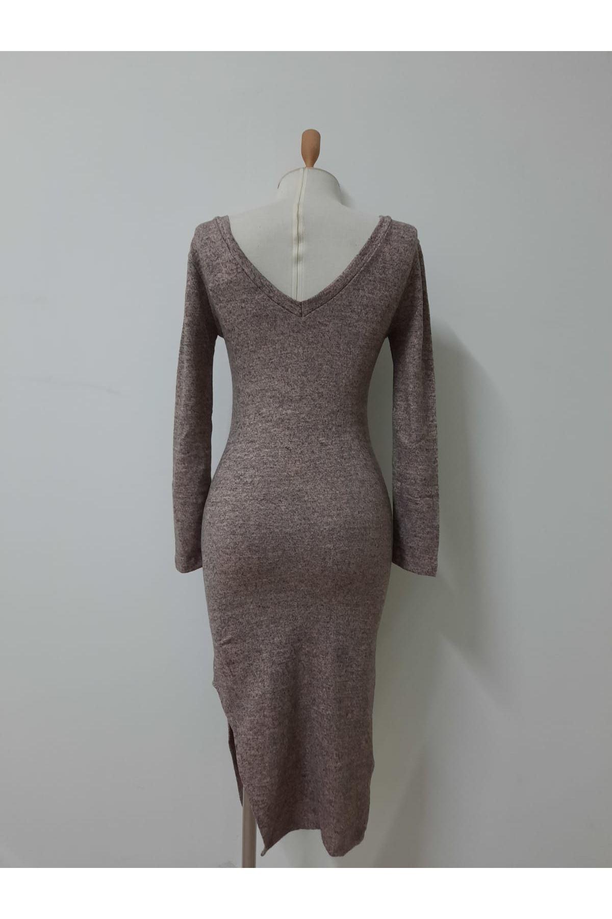 Yanı Yırtmaç Yumoş Elbise - BEJ