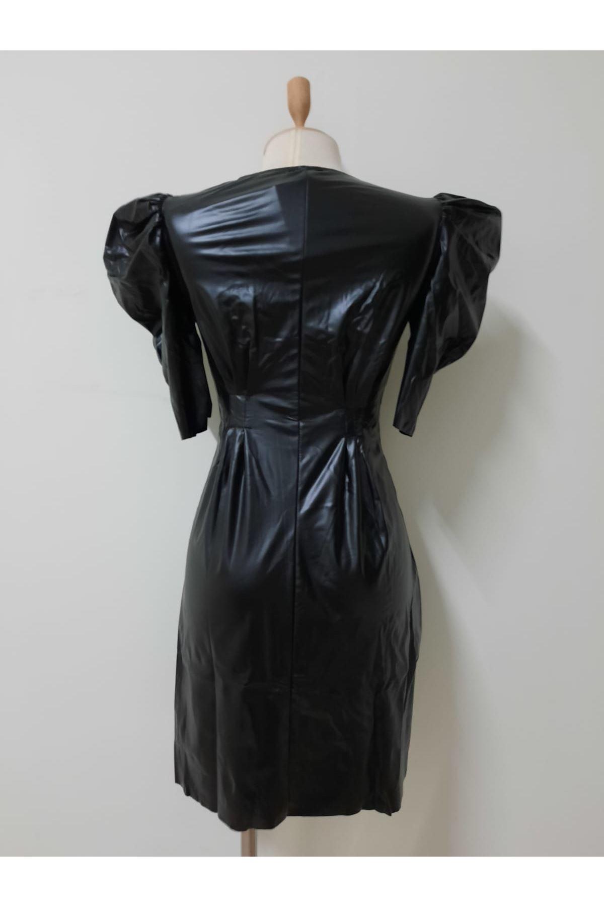 Prenses Omuz Mini Elbise - SİYAH
