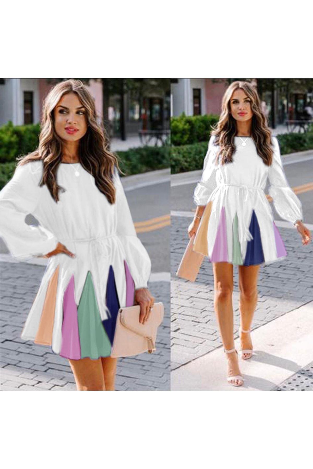 Renkli Etekli Mini Elbise - beyaz