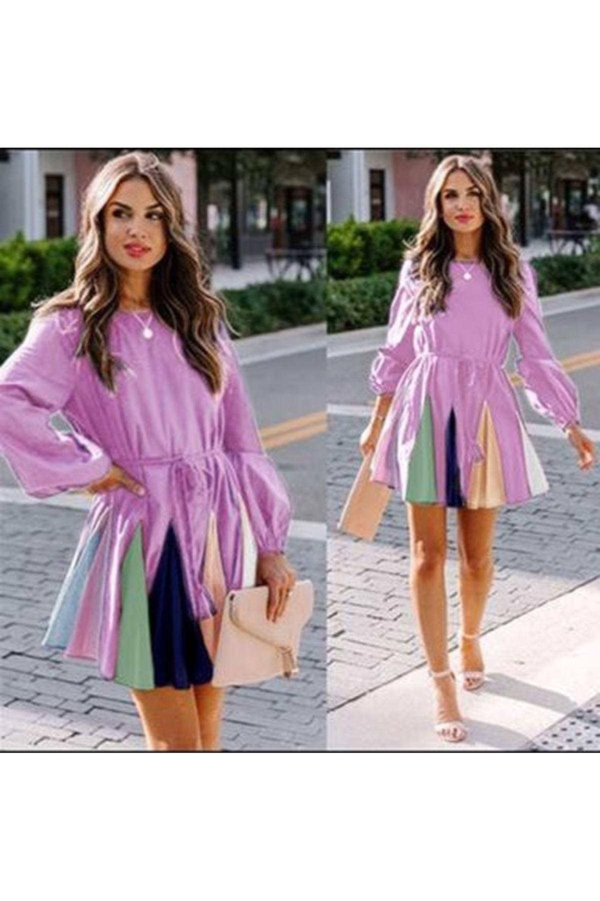 Renkli Etekli Mini Elbise - lila