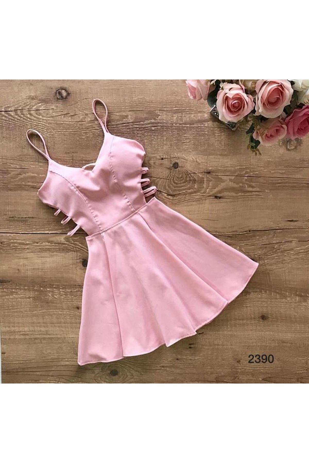 Yanı Detaylı Mini Elbise - BEYAZ