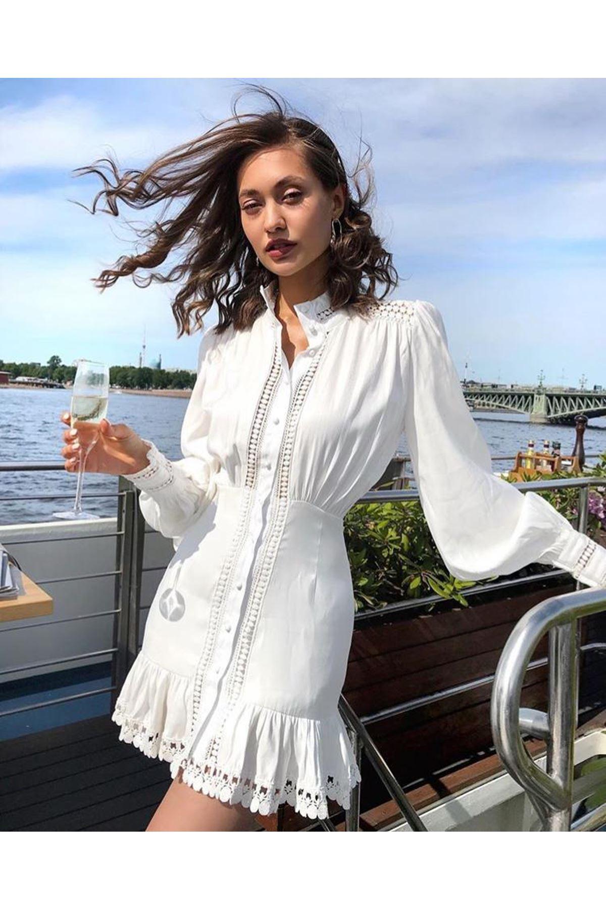 Fisto İşlemeli Mini Elbise - beyaz