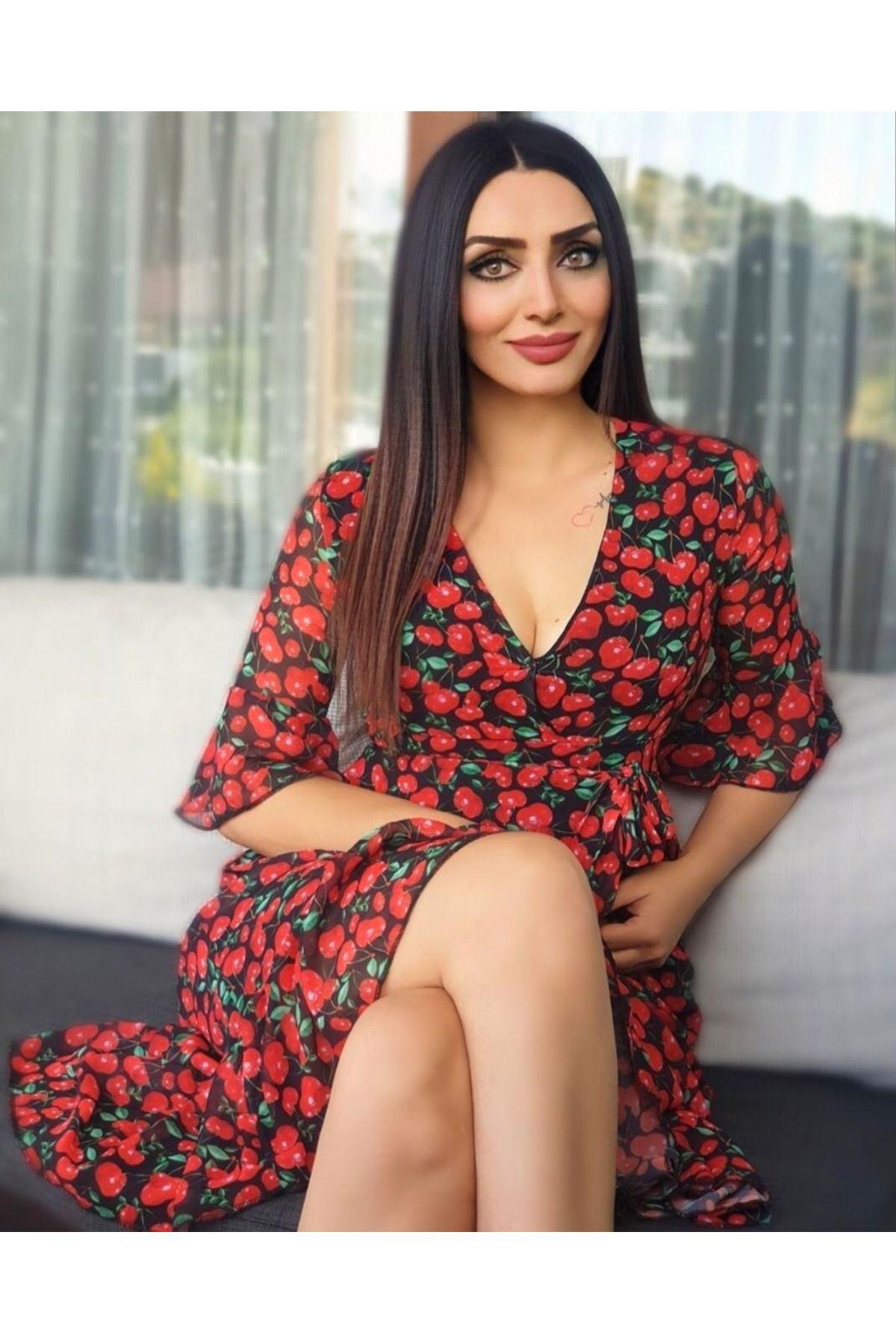 Kiraz Desenli Elbise - kırmızı