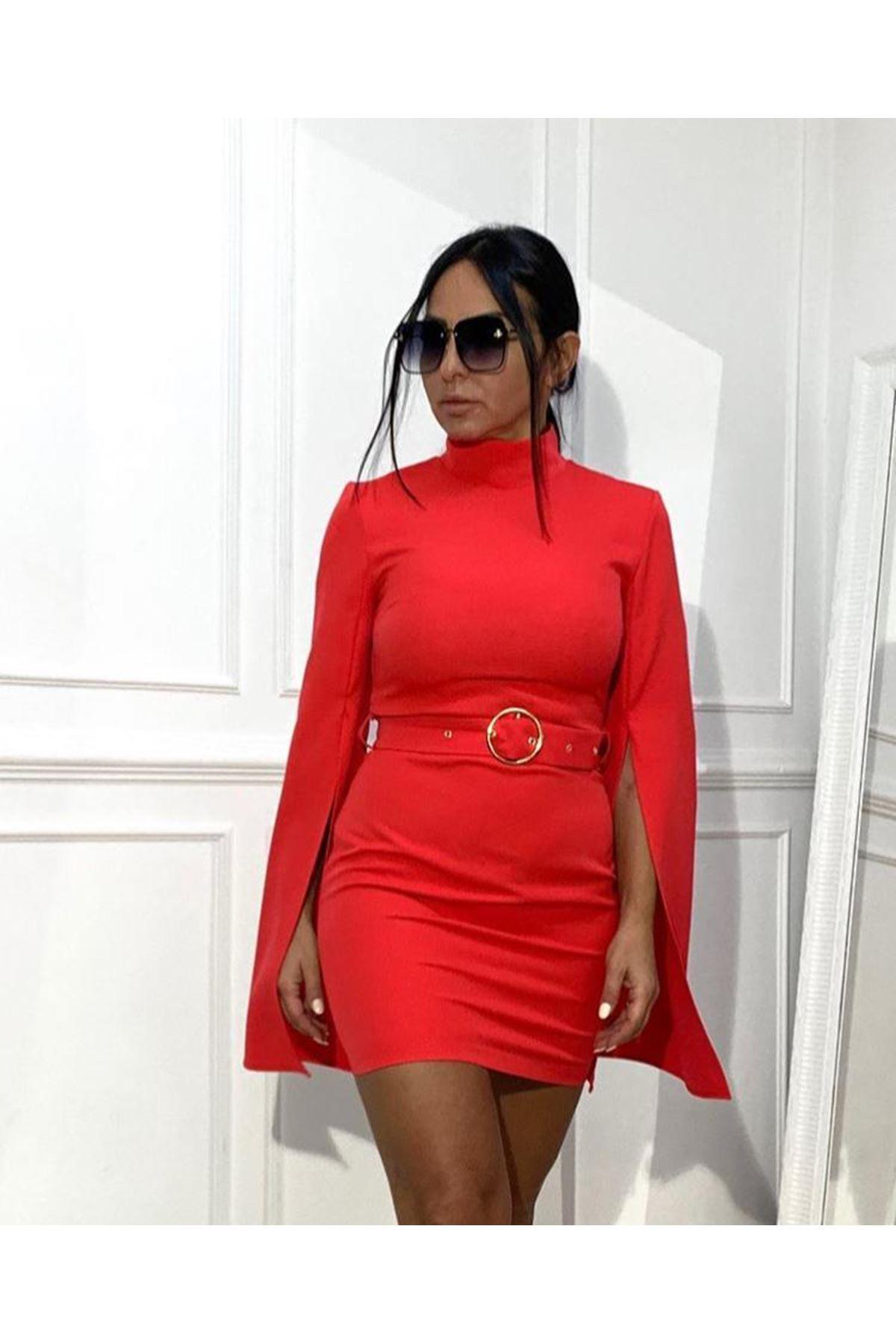 Pelerin Kol Mini Elbise - kırmızı