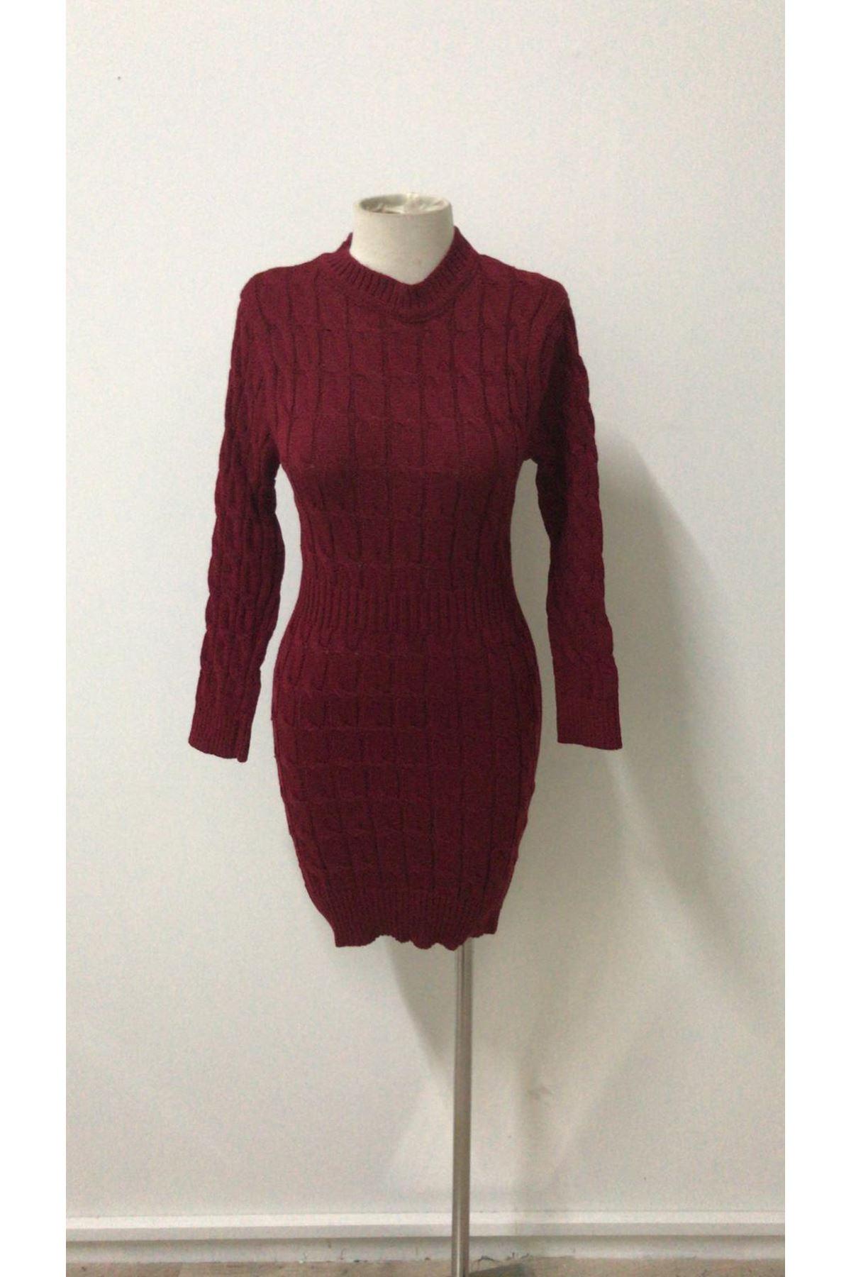 Örme Detaylı Mini Elbise - Bordo