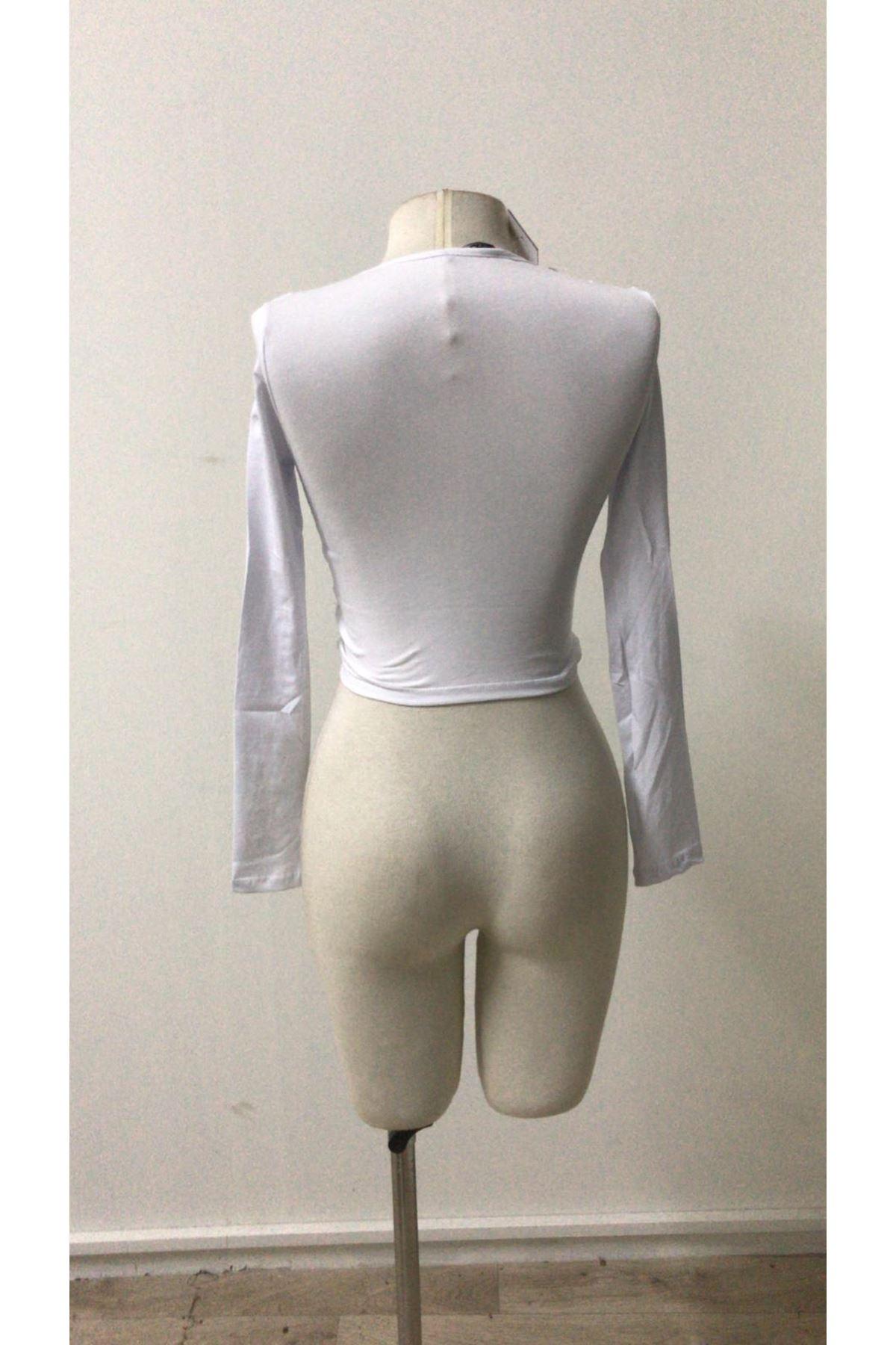Düğüm Model Tasarım Bluz -beyaz