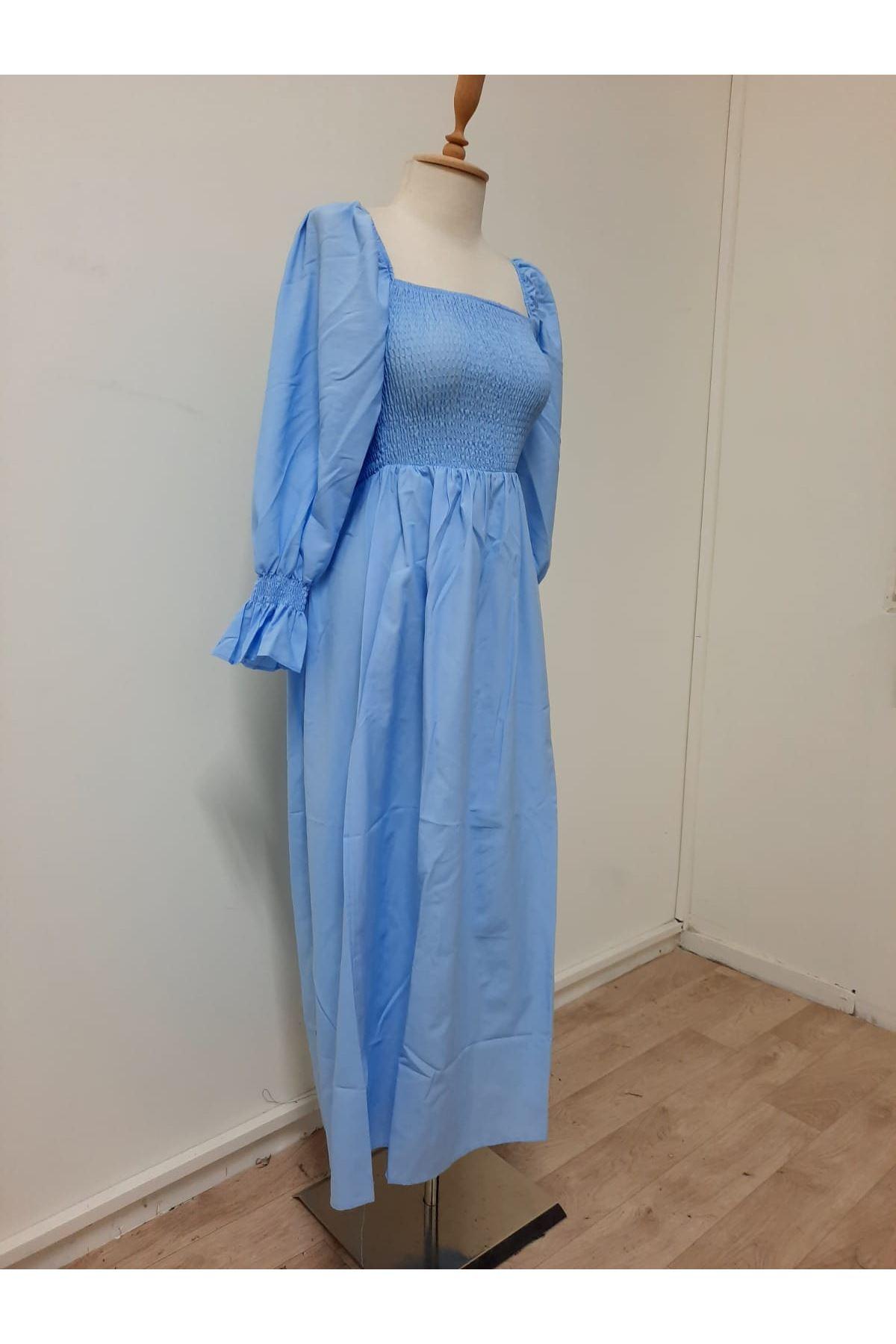 Gipe Detaylı Mavi Elbise - MAVİ
