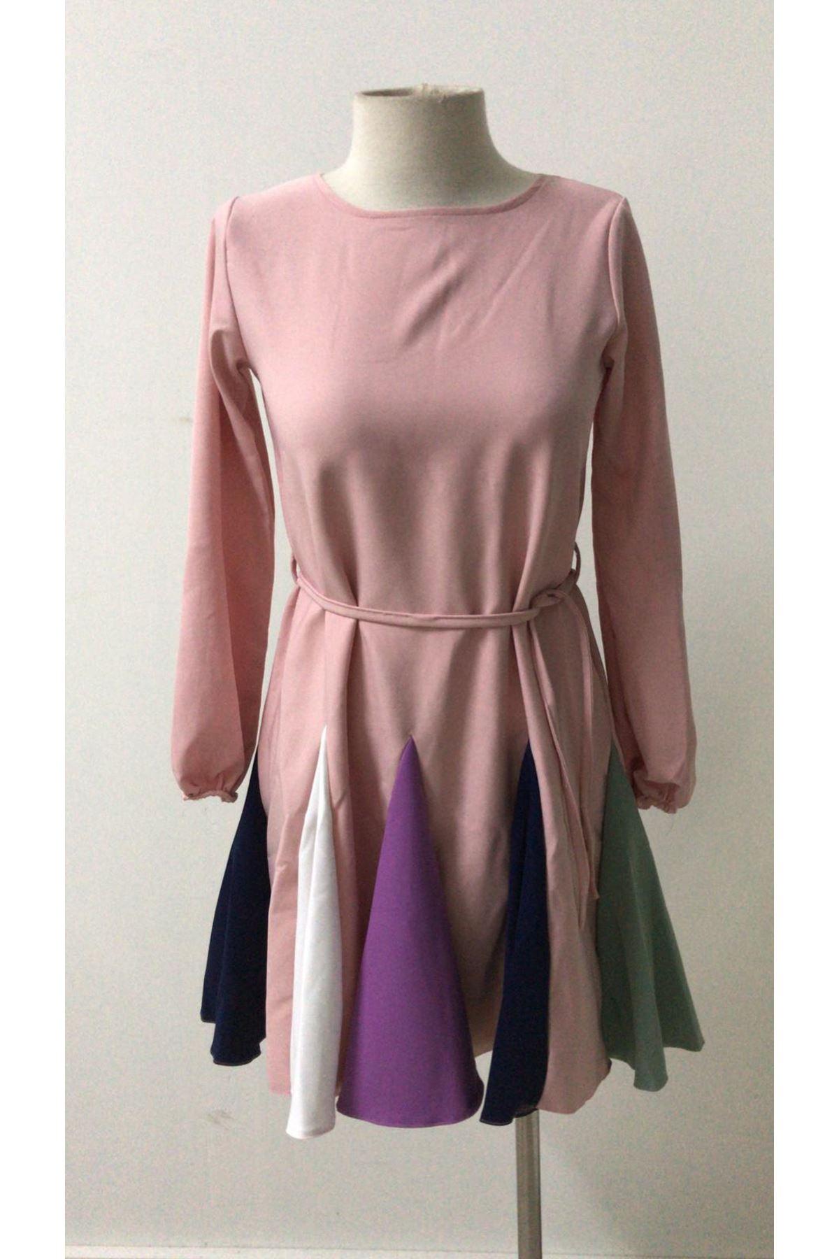 Renkli Etekli Mini Elbise - pudra