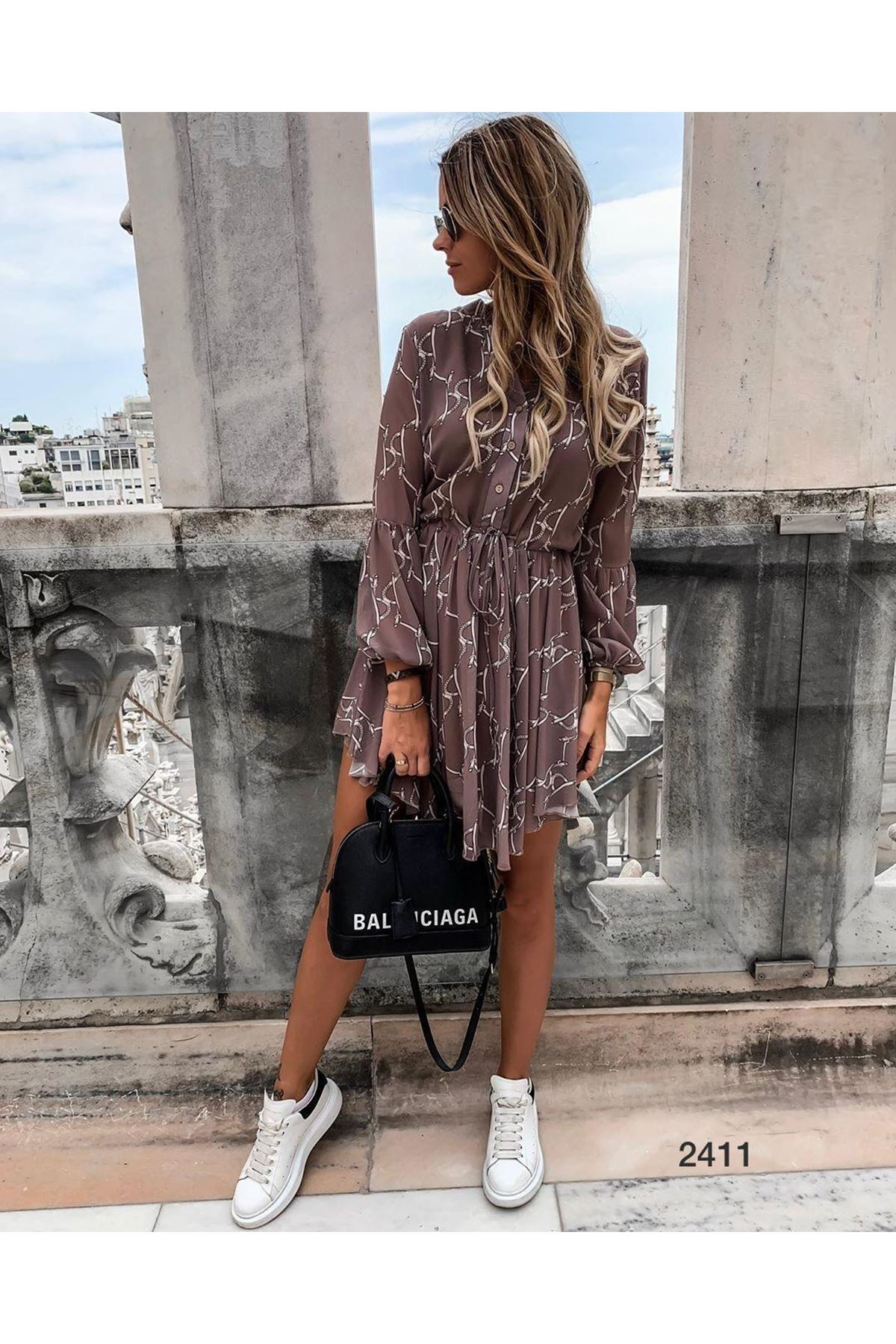 Dijital Baskı Şifon Elbise - VİZON