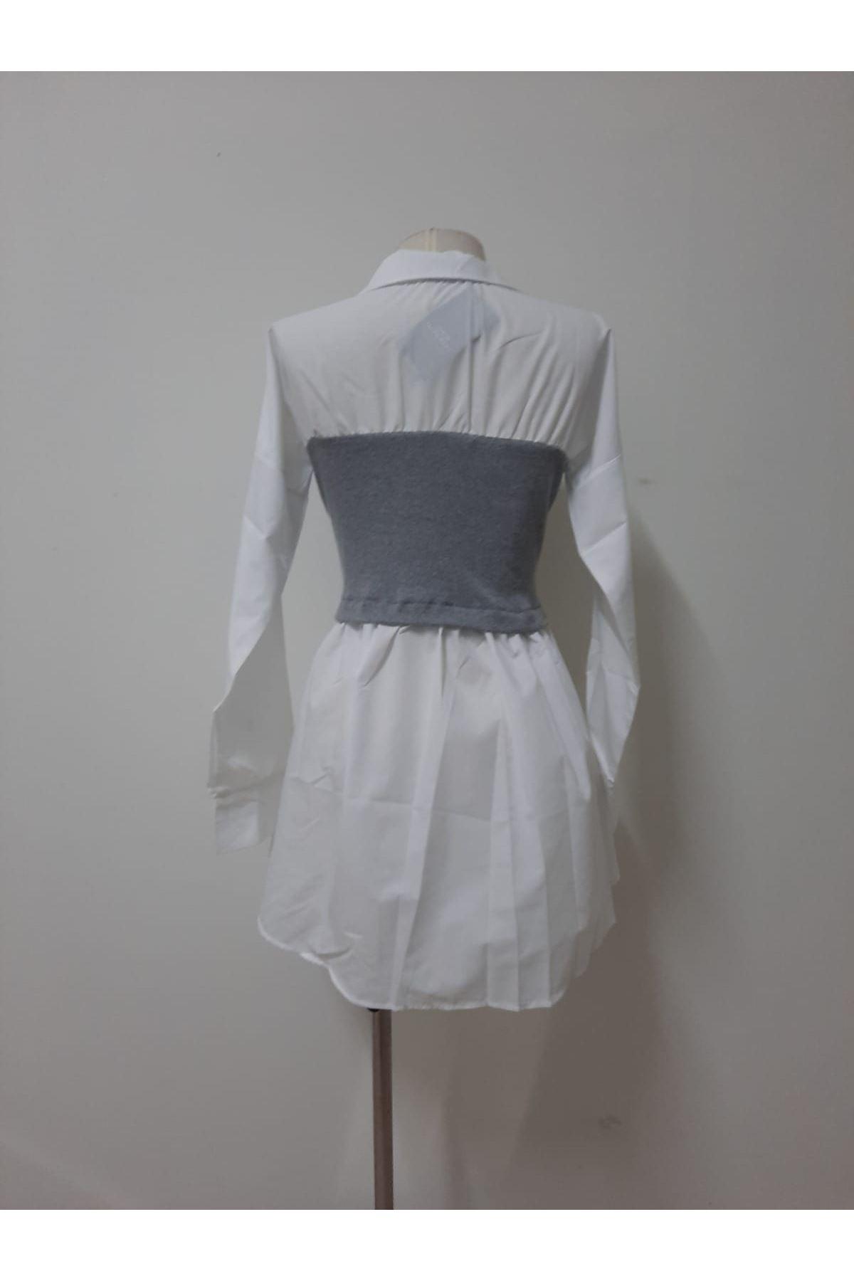 Ribanalı Poplin Elbise - GRİ