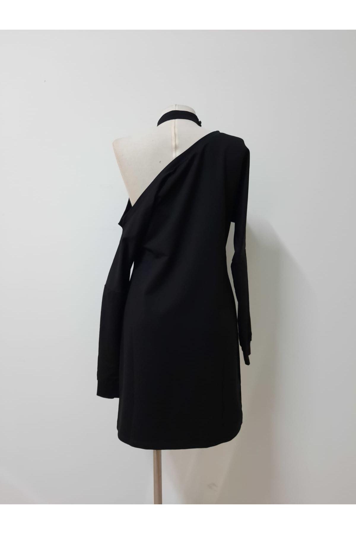 Boyun Bantlı İki İplik Elbise - SİYAH