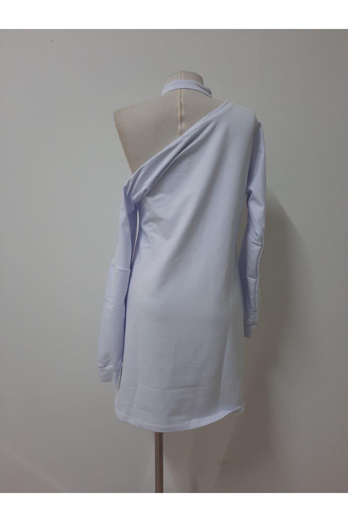 Boyun Bantlı İki İplik Elbise - BEYAZ