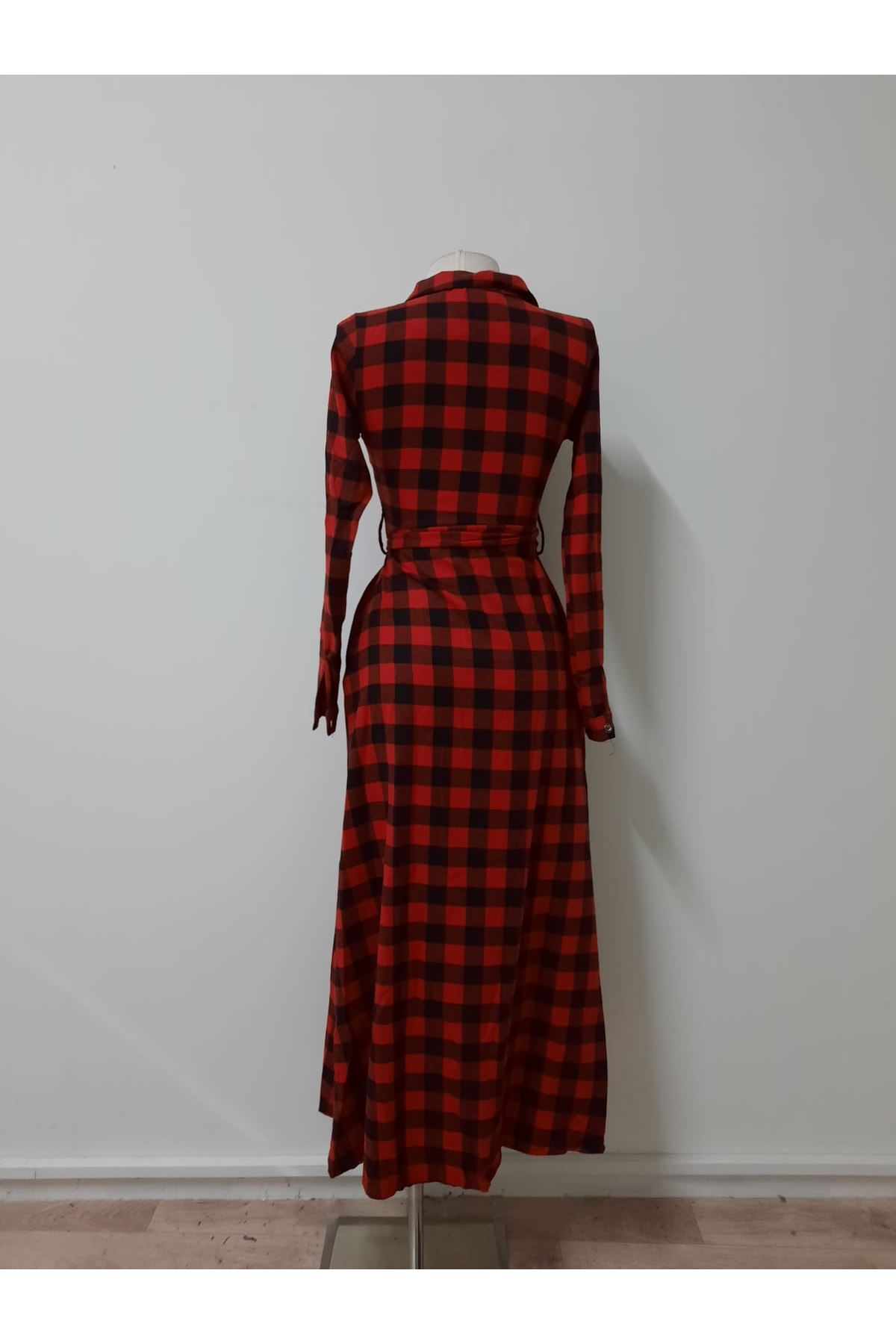 Ekoseli Gömlek Elbise - kırmızı