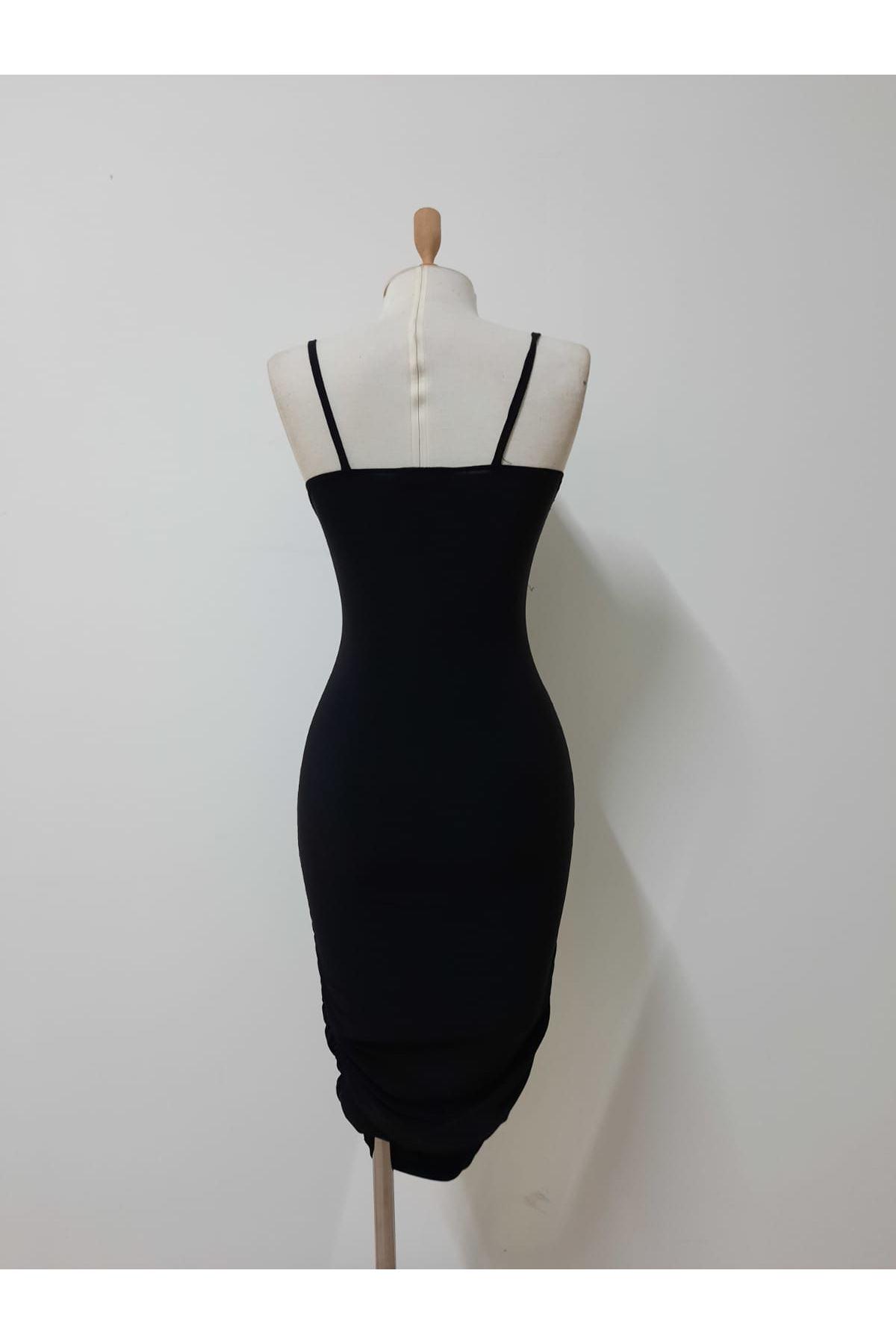 Göbek Dekolte Mini Elbise - SİYAH