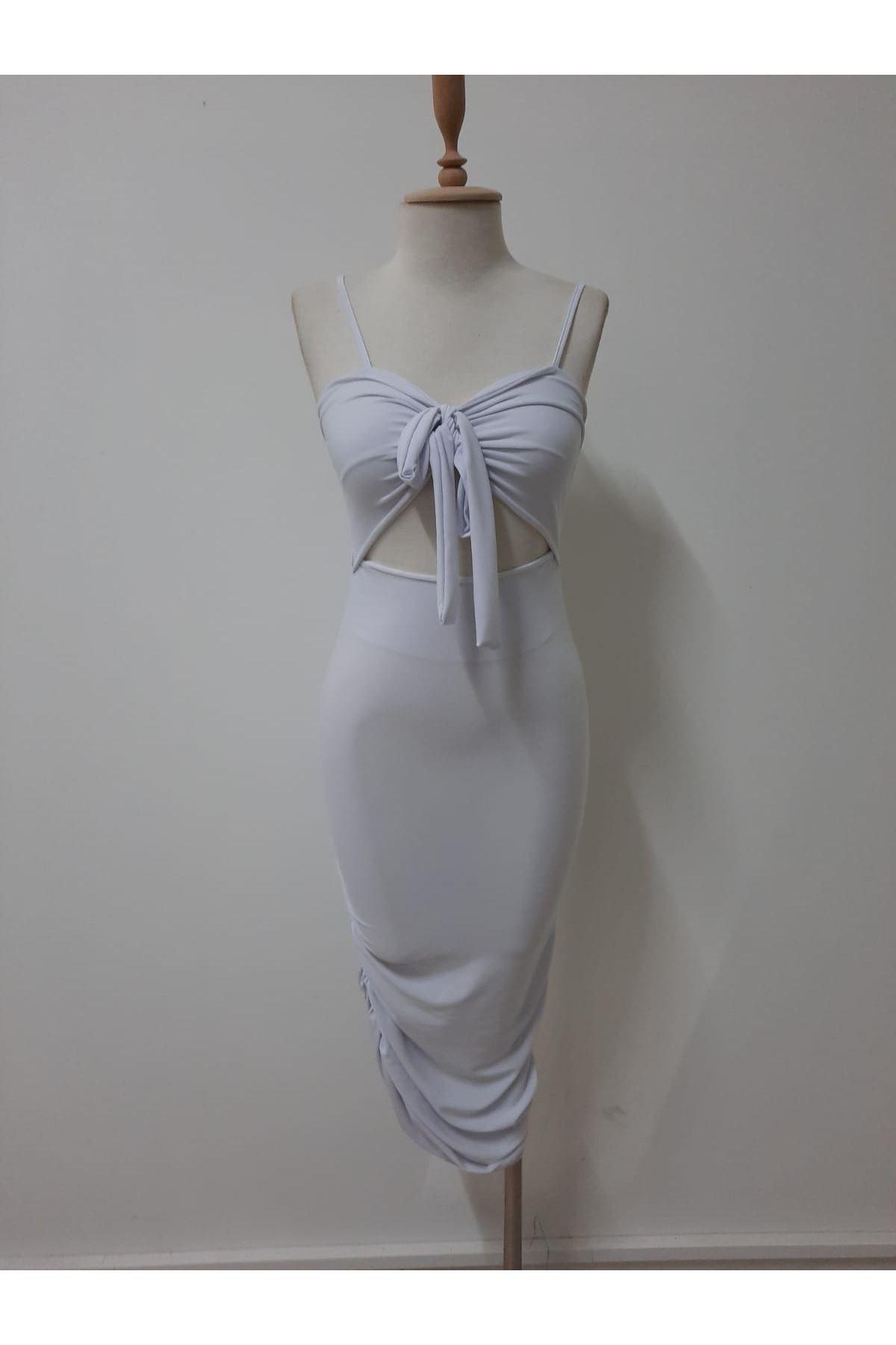 Göbek Dekolte Mini Elbise - BEYAZ