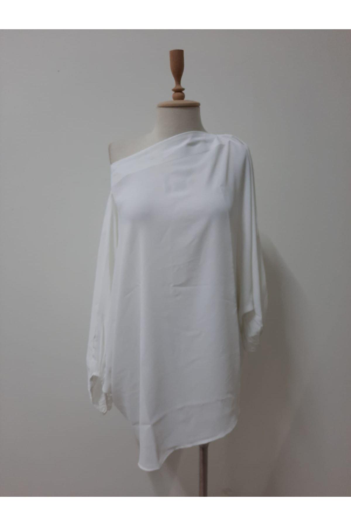 Düşük Omuz Bluz - beyaz