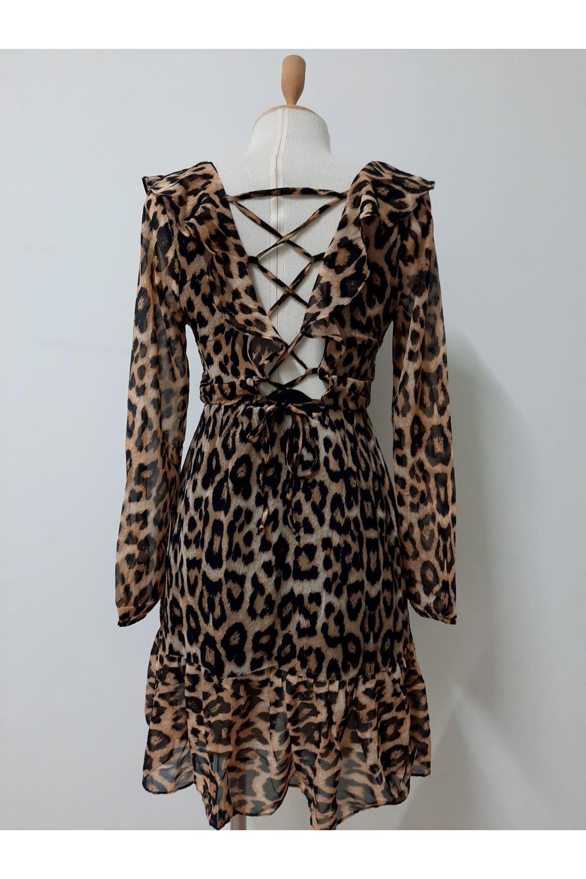 Sırt Bağcık Leopar Astarlı Elbise - LEOPAR