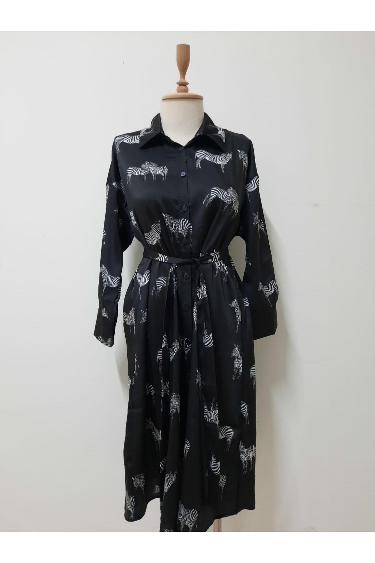 Zebra Baskılı Elbise - SİYAH