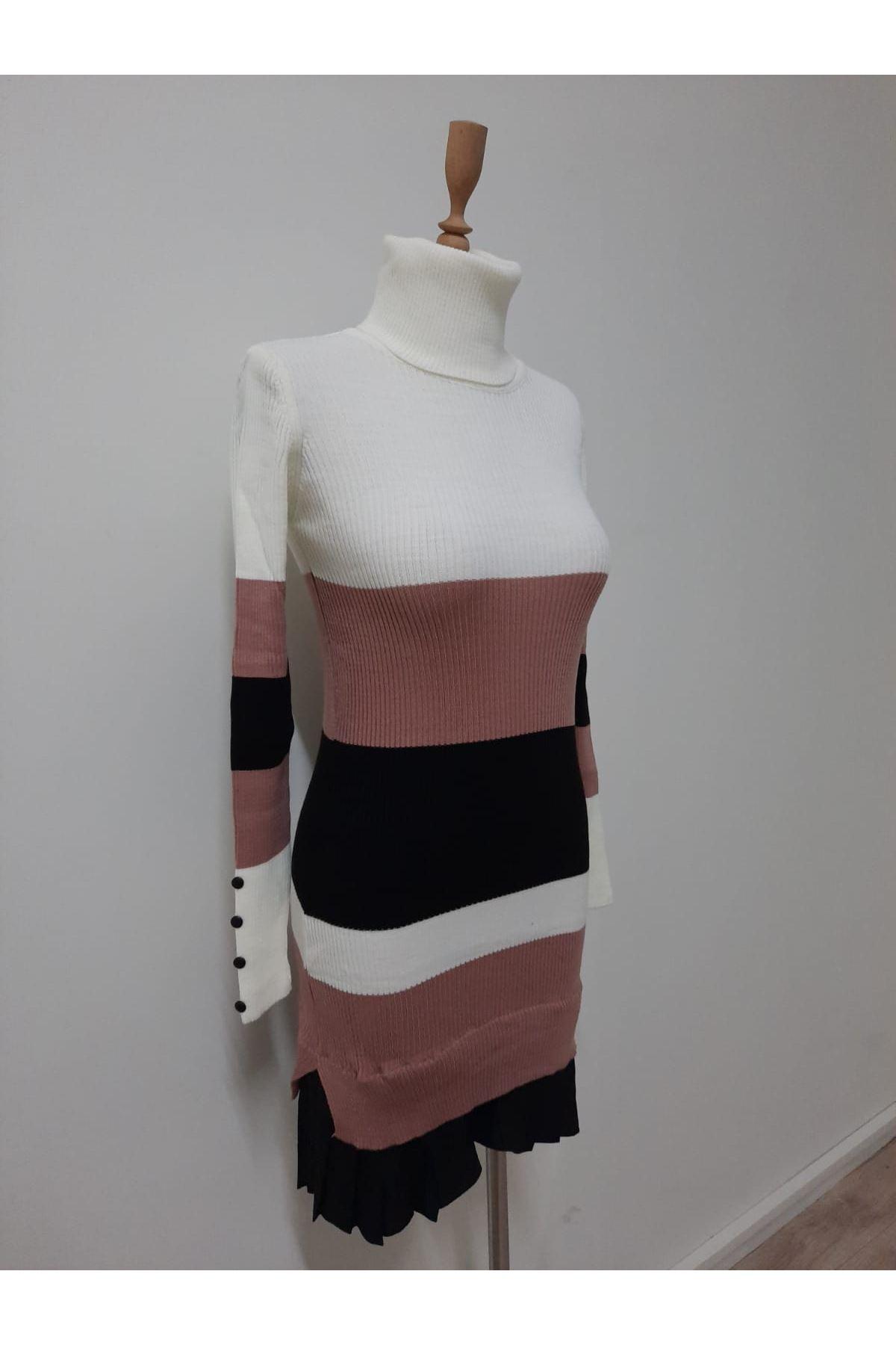 Renk Geçiş Triko Elbise - PUDRA