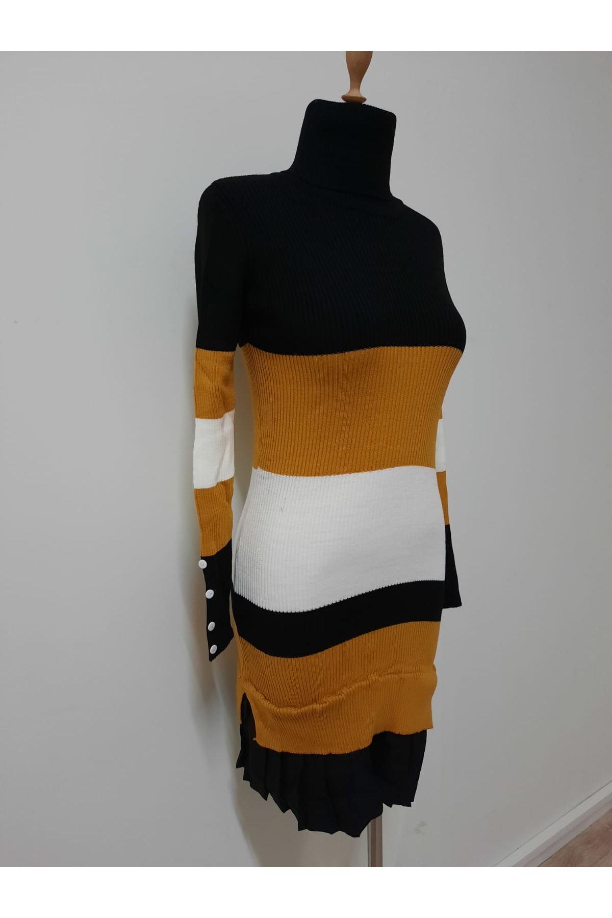 Renk Geçiş Triko Elbise - HARDAL
