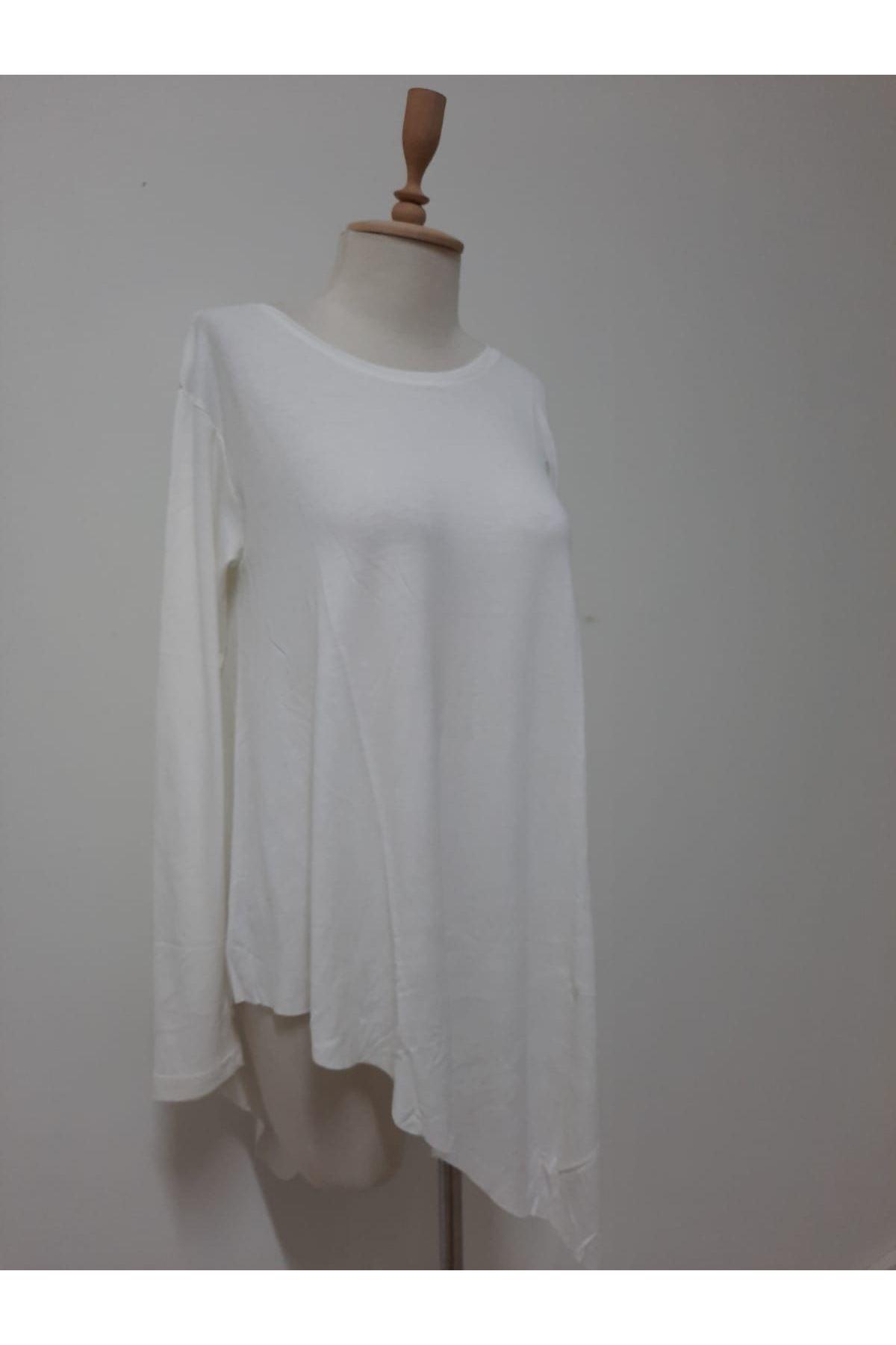 Uzun Kol Asimetrik Bluz - beyaz