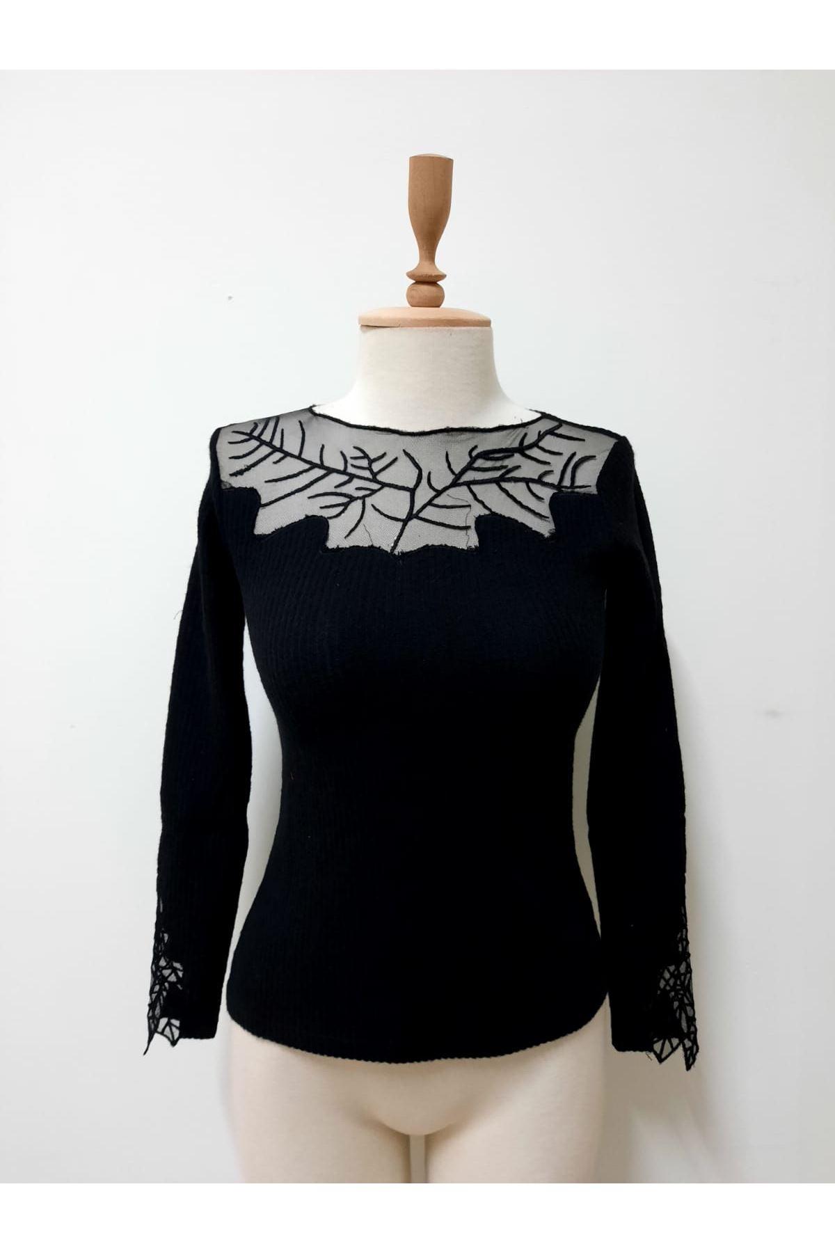 Akrelik Tül Tasarım Bluz - siyah