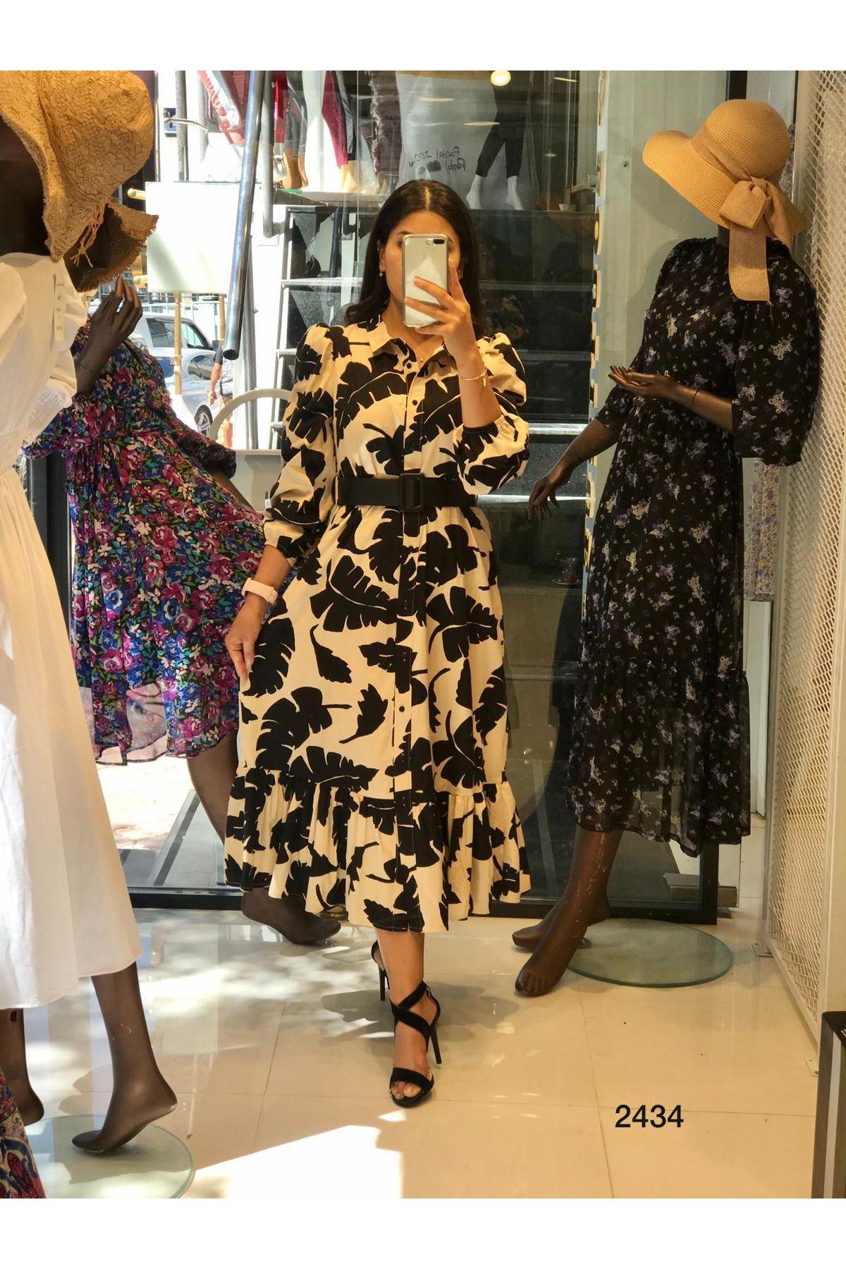 Yaprak Desen Midiboy Elbise - bej