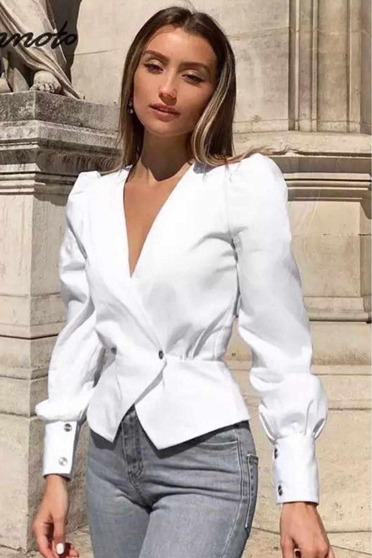 Ceket Görünümlü Bluz - beyaz