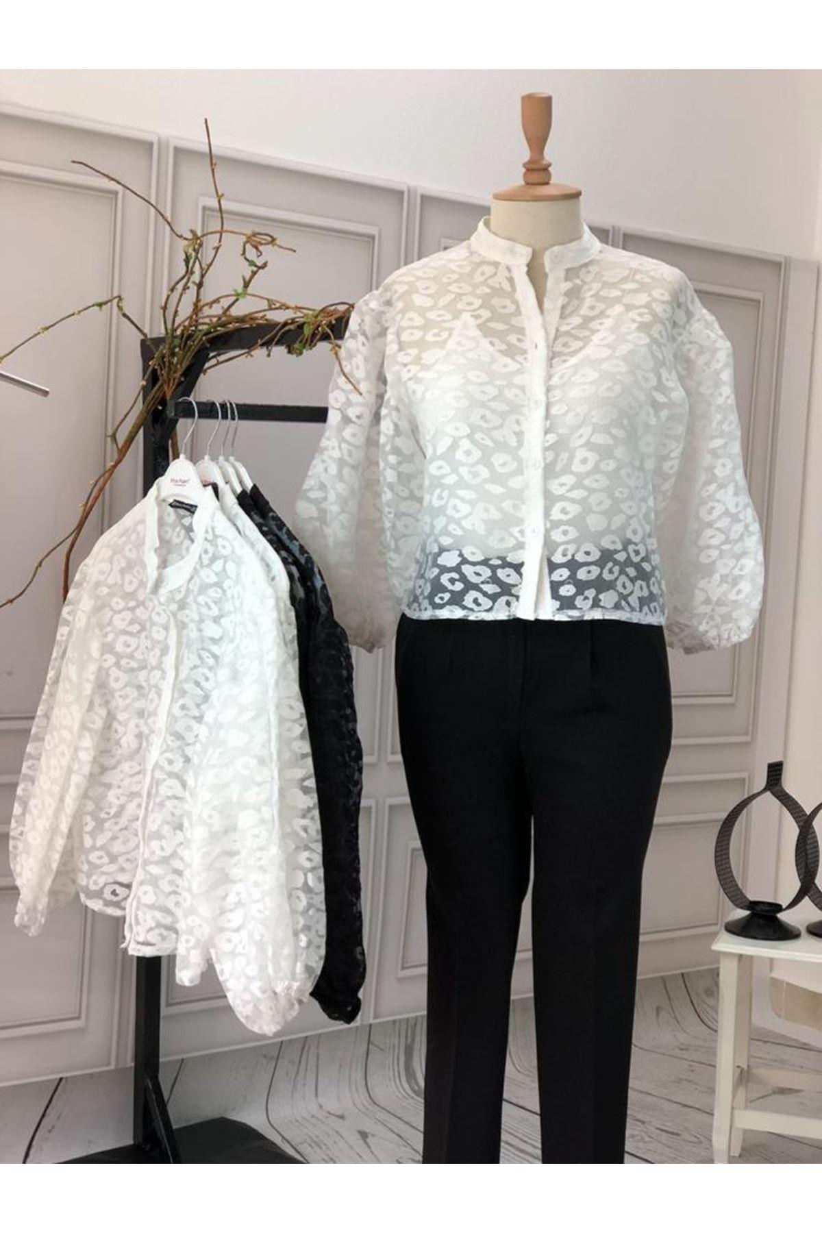 Tül Üzeri İşleme Gömlek - beyaz